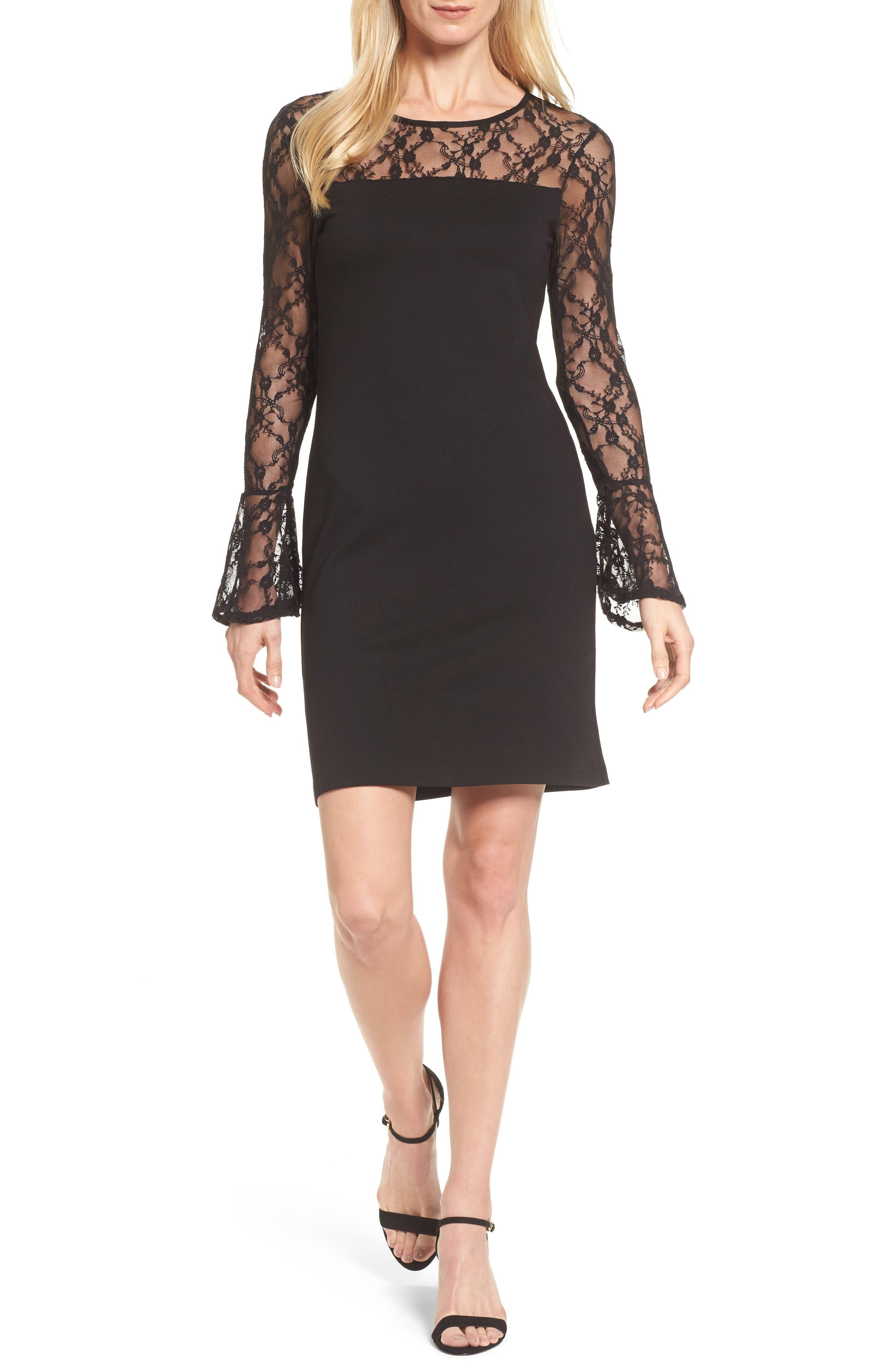Flared Cuff Lace Sleeve Dress,                             Main thumbnail 1, color,                             001