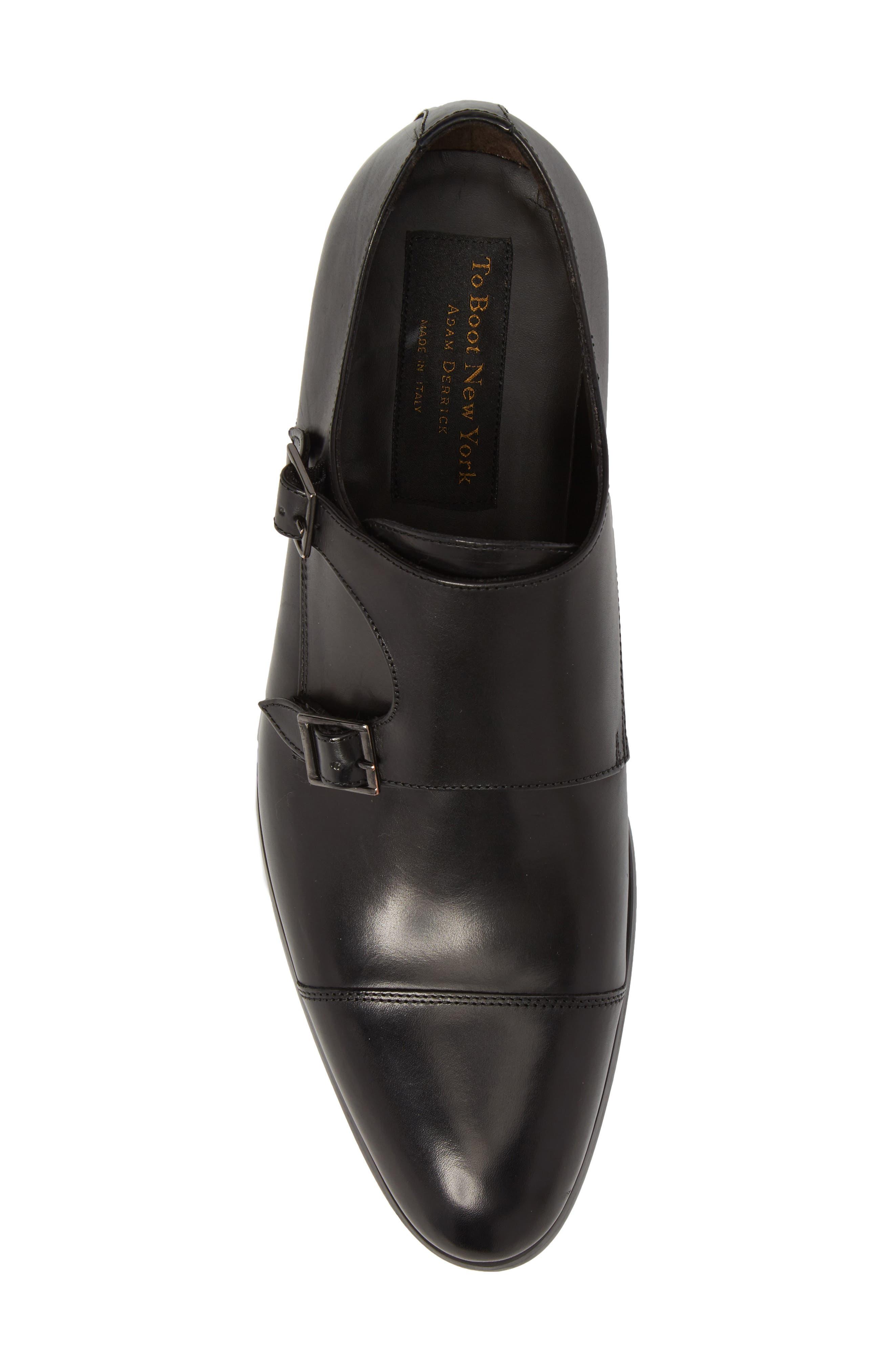 Bankston Cap Toe Double Strap Monk Shoe,                             Alternate thumbnail 5, color,                             BLACK LEATHER