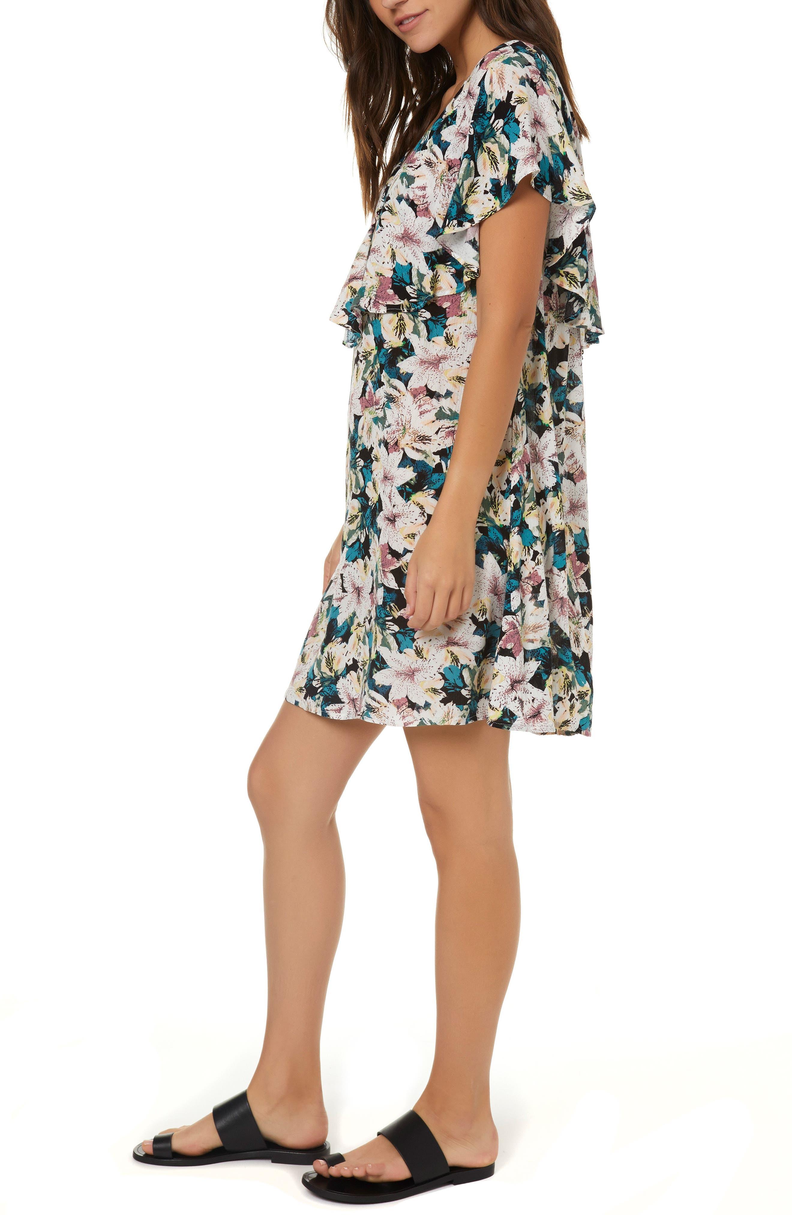 Miran Floral Print Woven Dress,                             Alternate thumbnail 3, color,                             100
