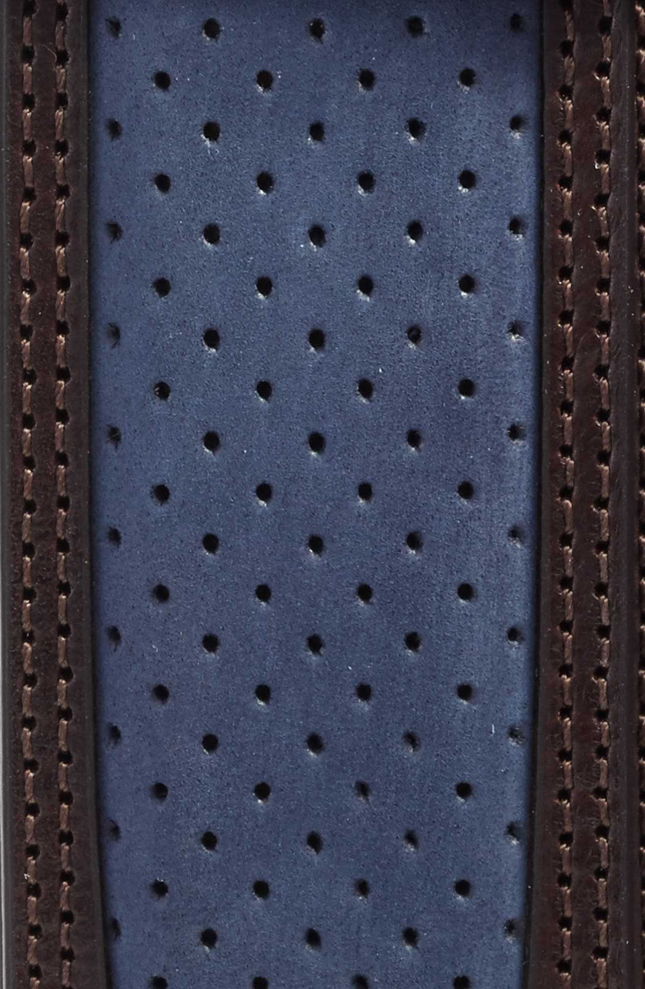 Nobuk Leather Belt,                             Alternate thumbnail 2, color,                             BLUE BROWN