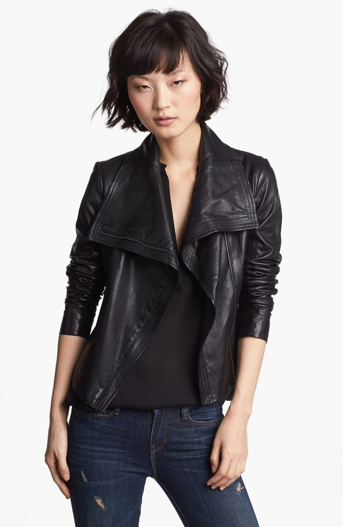 Crop Leather Moto Jacket,                         Main,                         color, 001