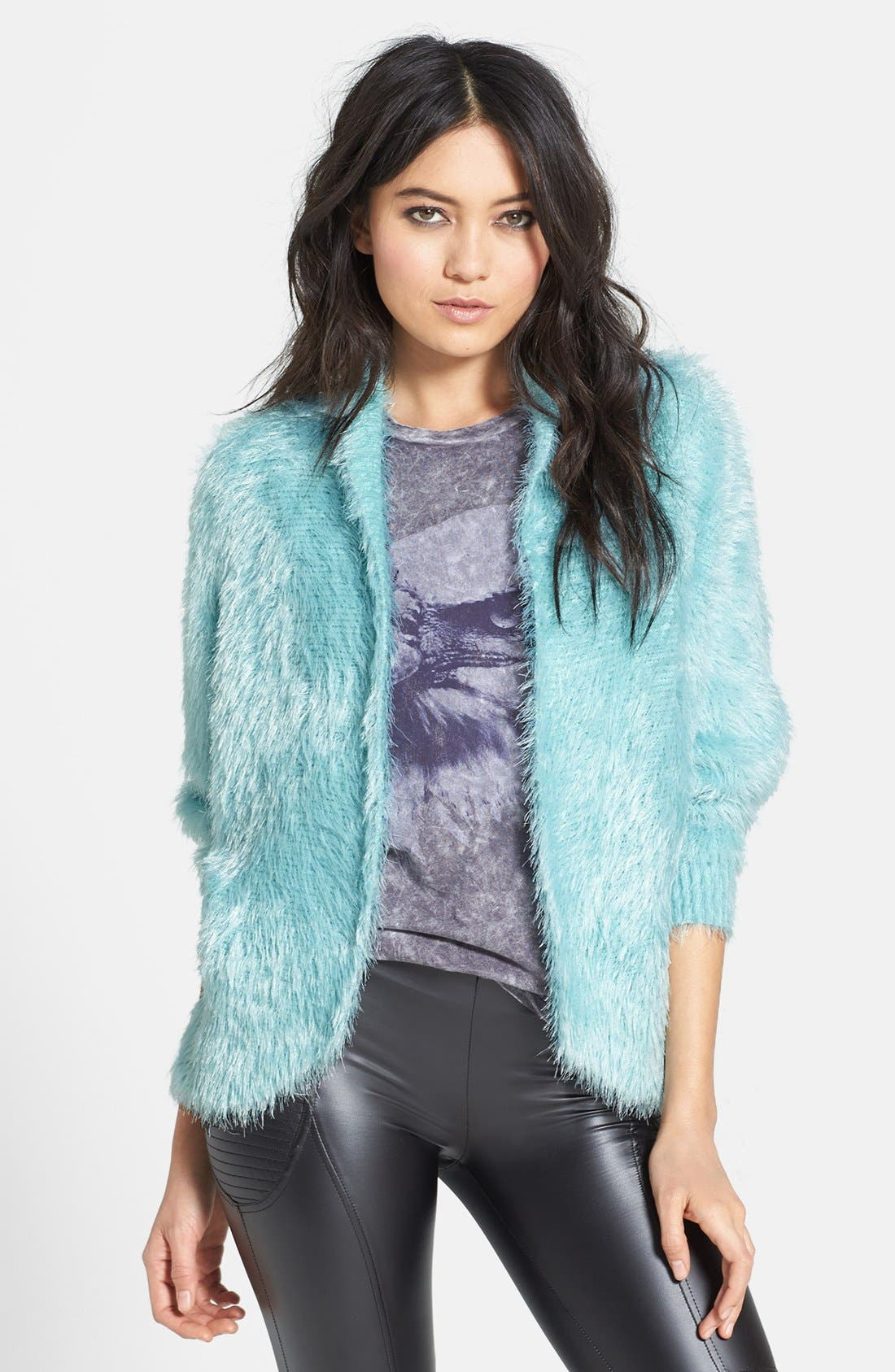 Dolman Sleeve Faux Fur Cardigan,                             Main thumbnail 1, color,                             400