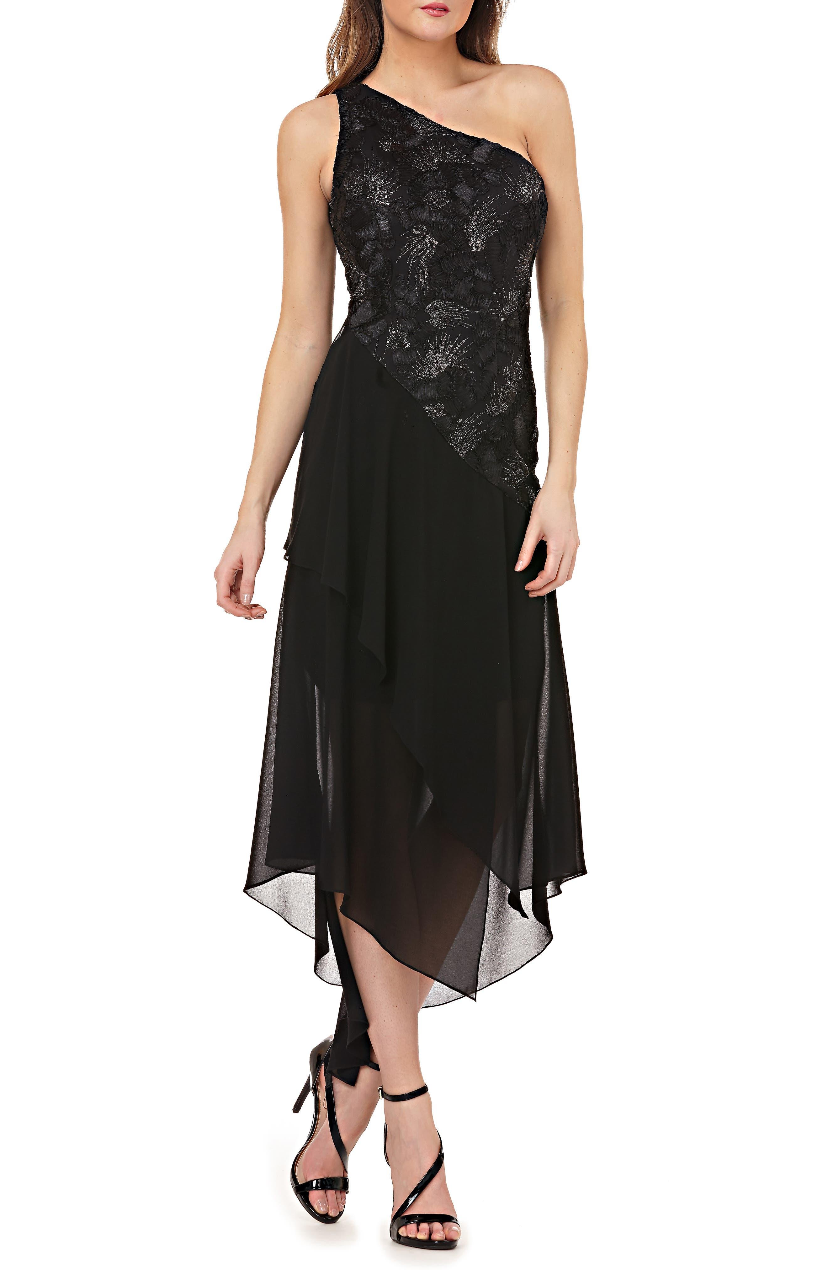 Carmen Marc Valvo Infusion Sequin & Chiffon One-Shoulder Dress, Black