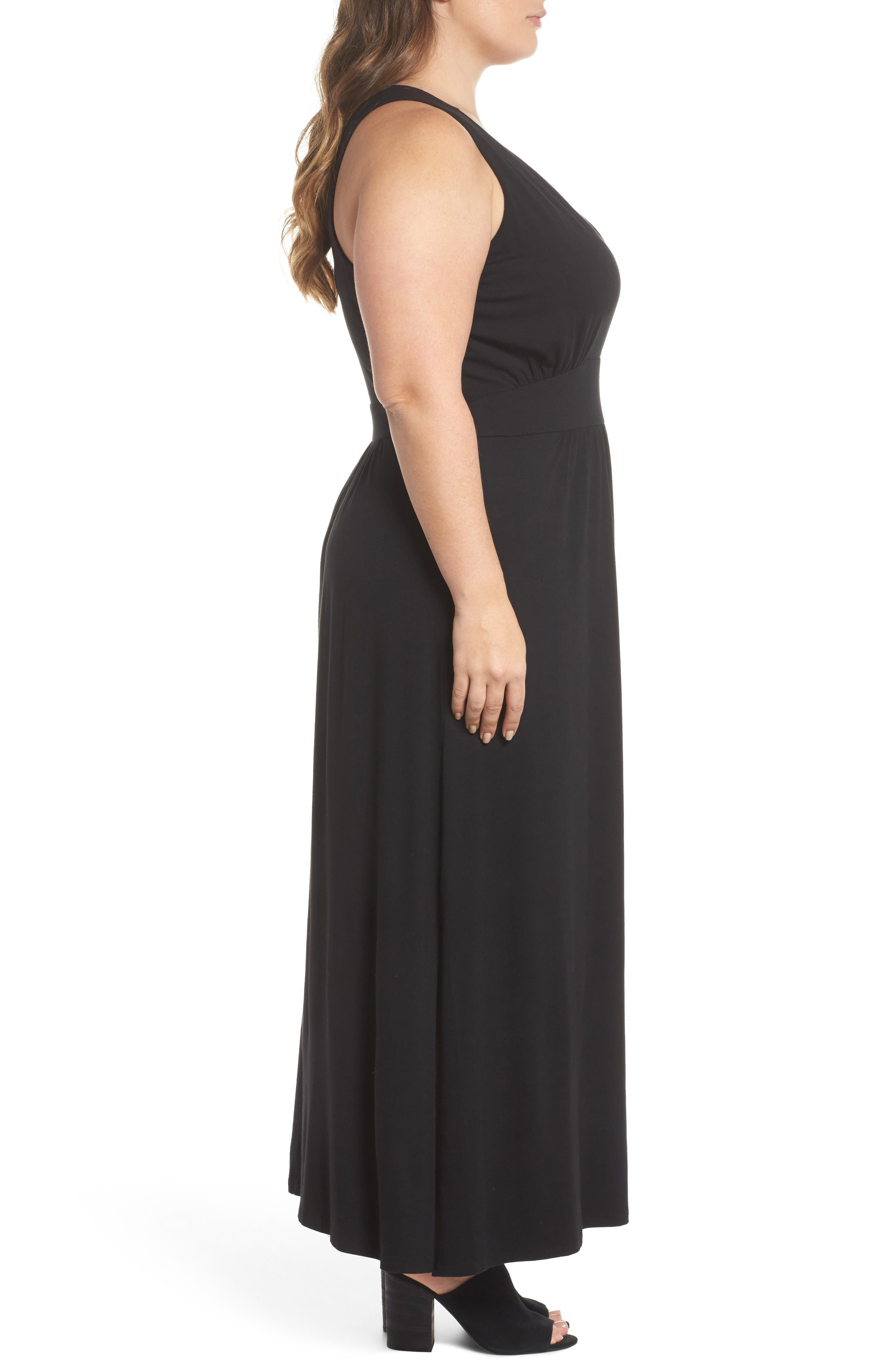 Knit Maxi Dress,                             Alternate thumbnail 3, color,                             001