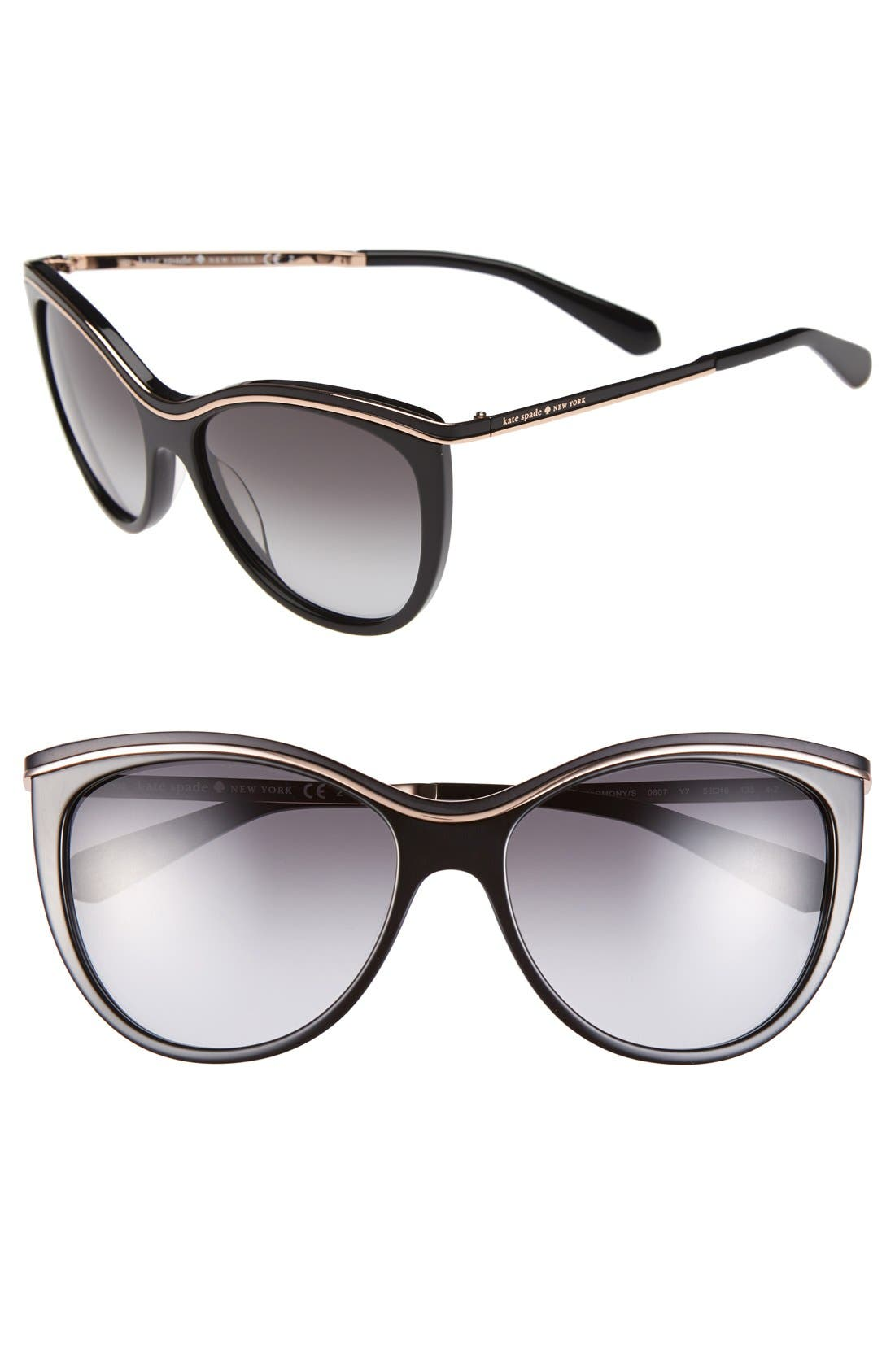 KATE SPADE NEW YORK,                             56mm cat eye sunglasses,                             Main thumbnail 1, color,                             001