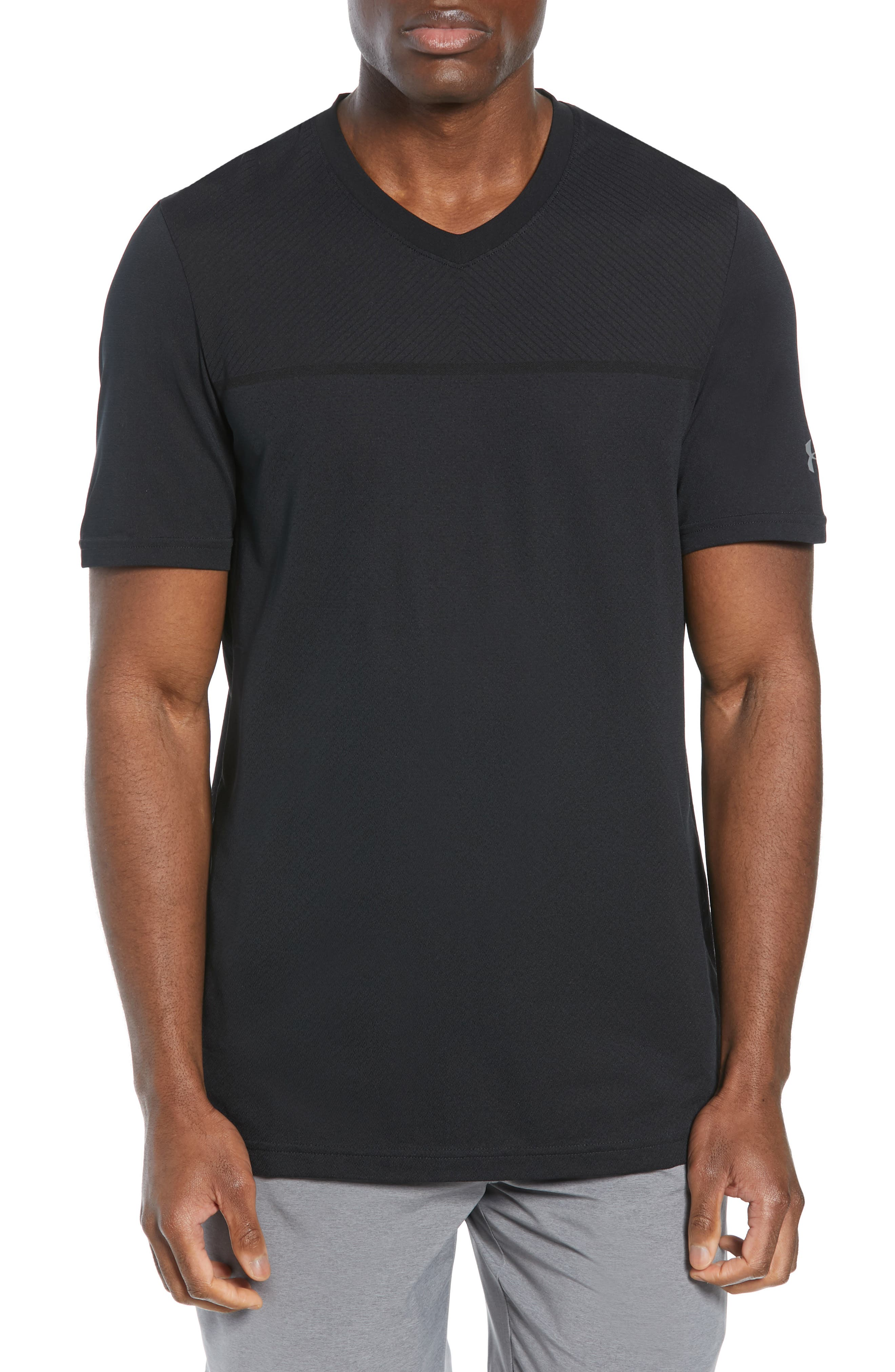 Vanish Seamless V-Neck T-Shirt,                             Main thumbnail 1, color,                             BLACK