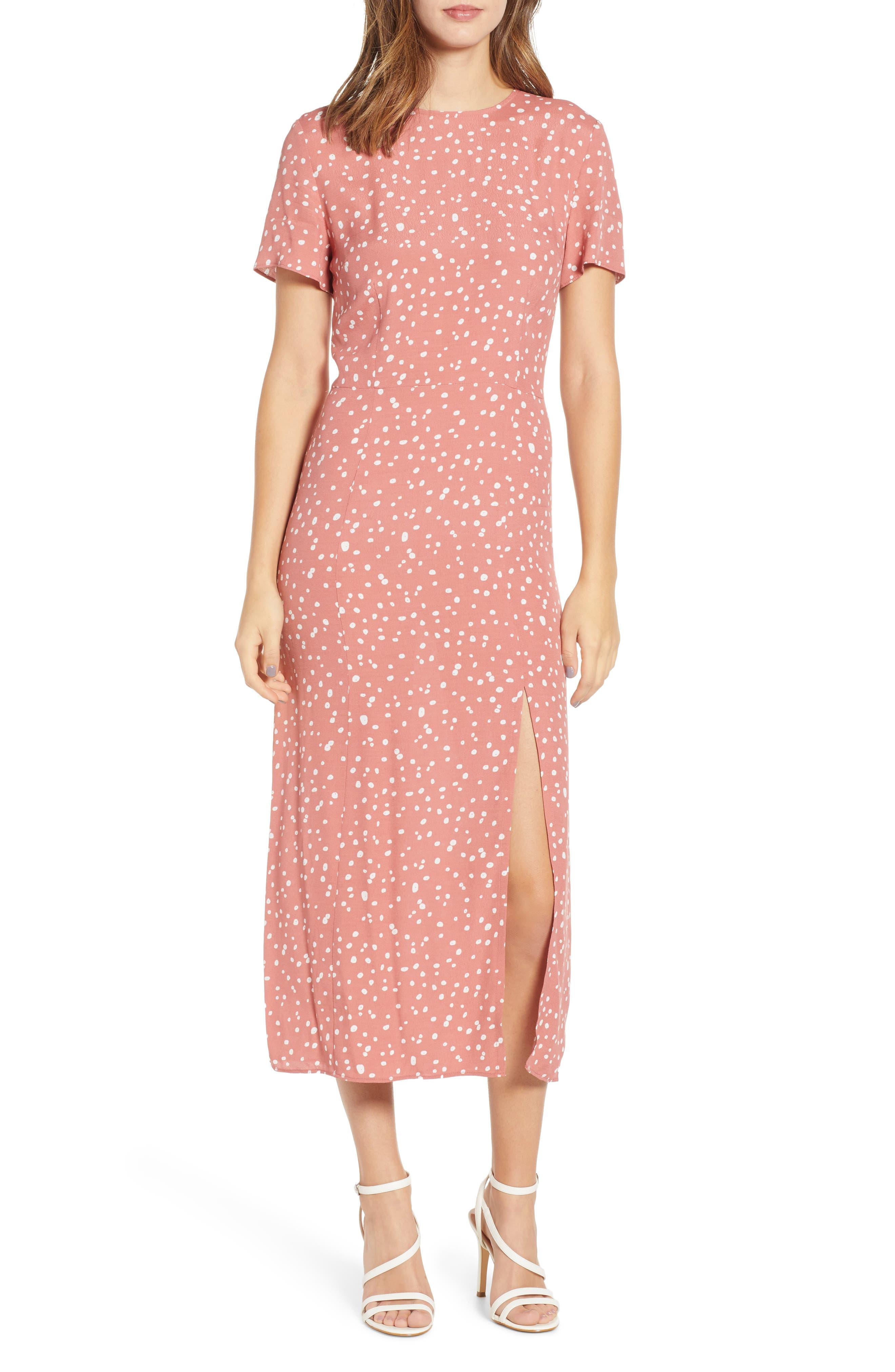 Leith Print Midi Dress, Pink