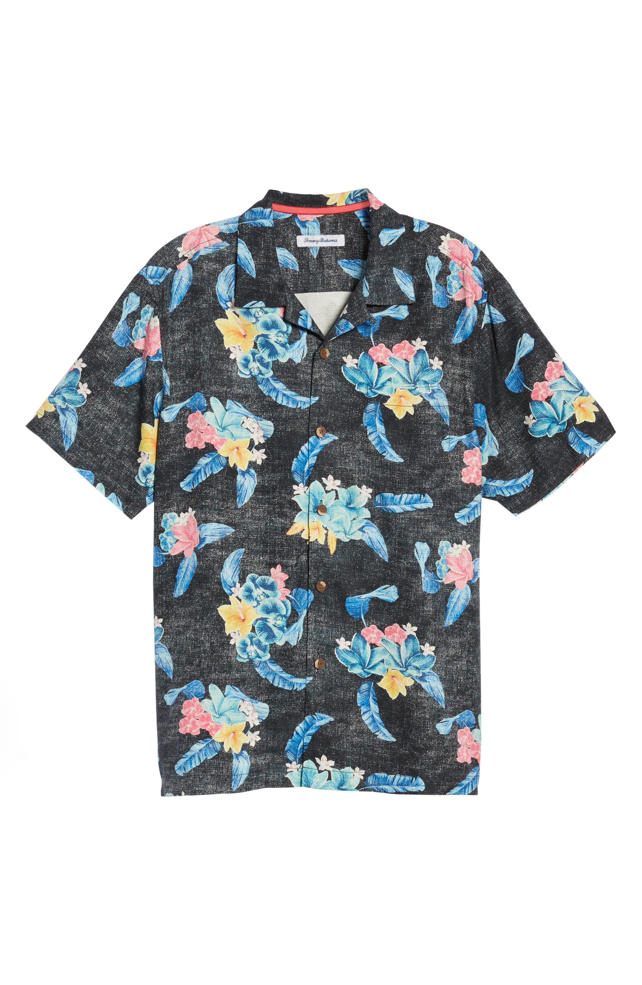 Salt Water Blooms Silk Sport Shirt,                             Alternate thumbnail 6, color,                             001