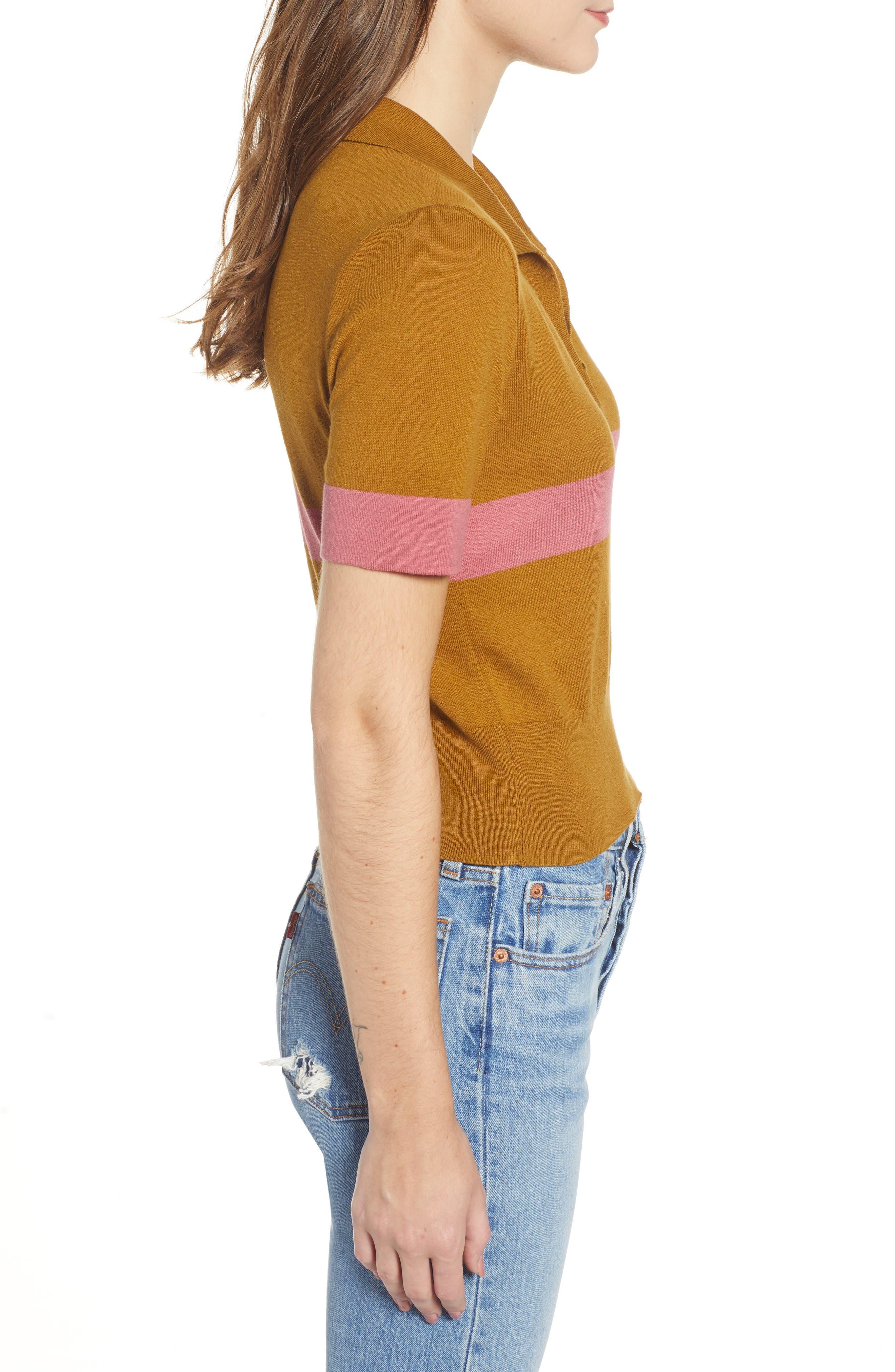 BP., Stripe Polo Sweater, Alternate thumbnail 3, color, BROWN BRONZE AIME STRIPE