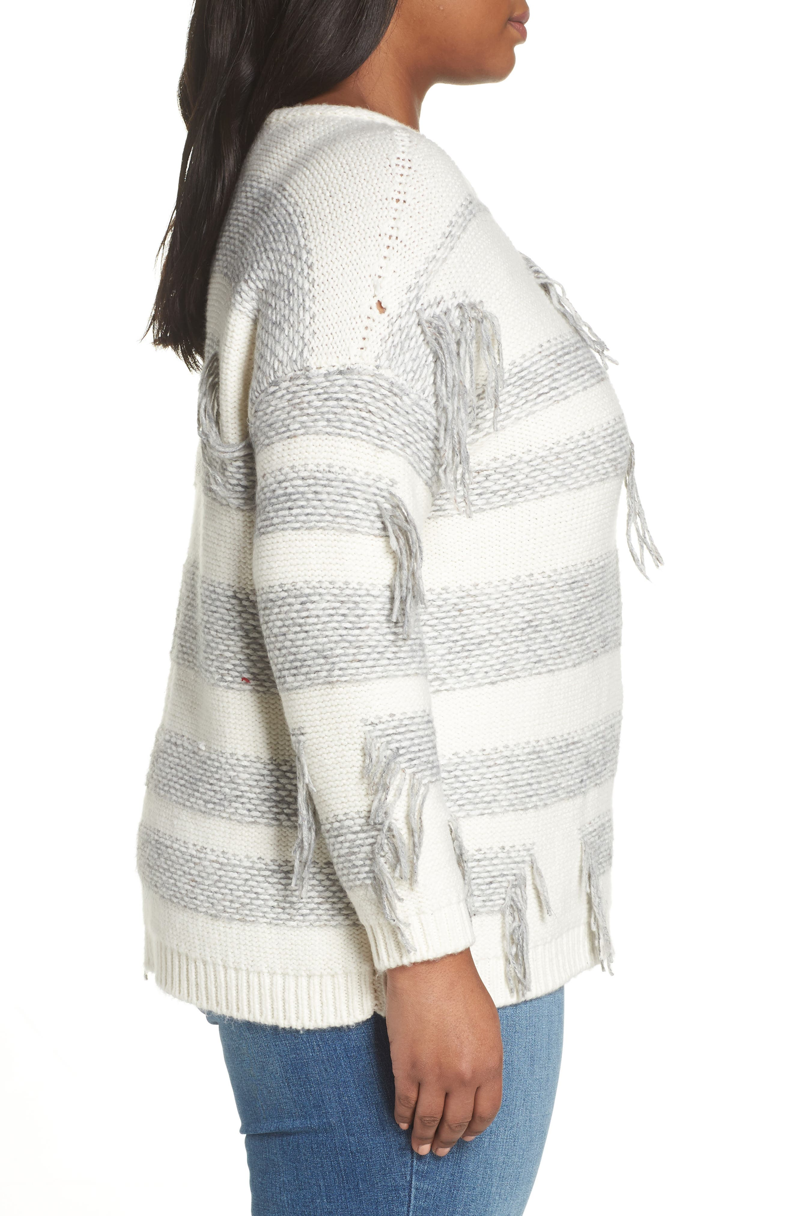Fringe Detail Stripe Cotton Blend Sweater,                             Alternate thumbnail 3, color,                             LIGHT HEATHER GREY