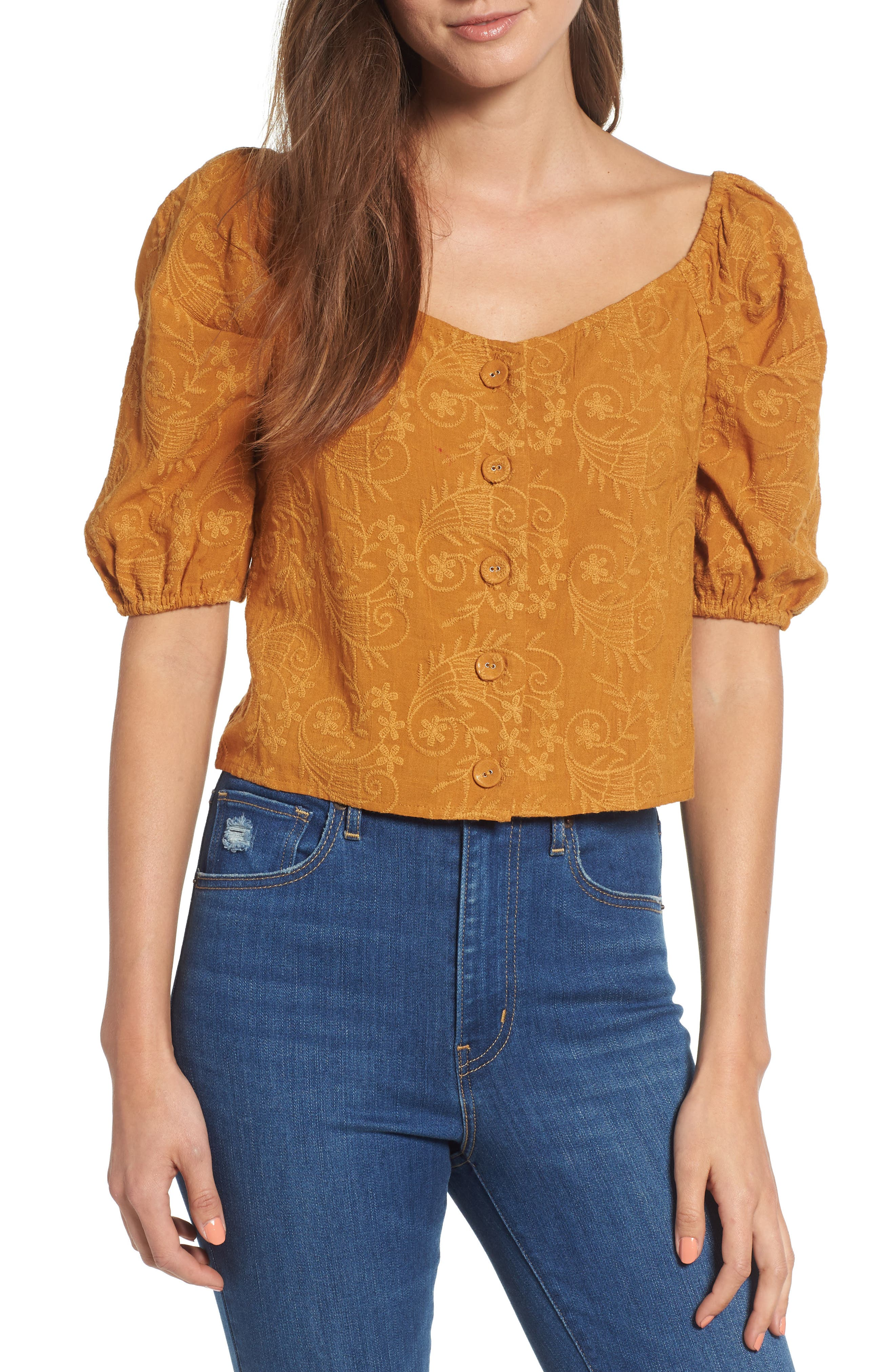 Embroidered Puff Sleeve Top,                         Main,                         color, MAPLE