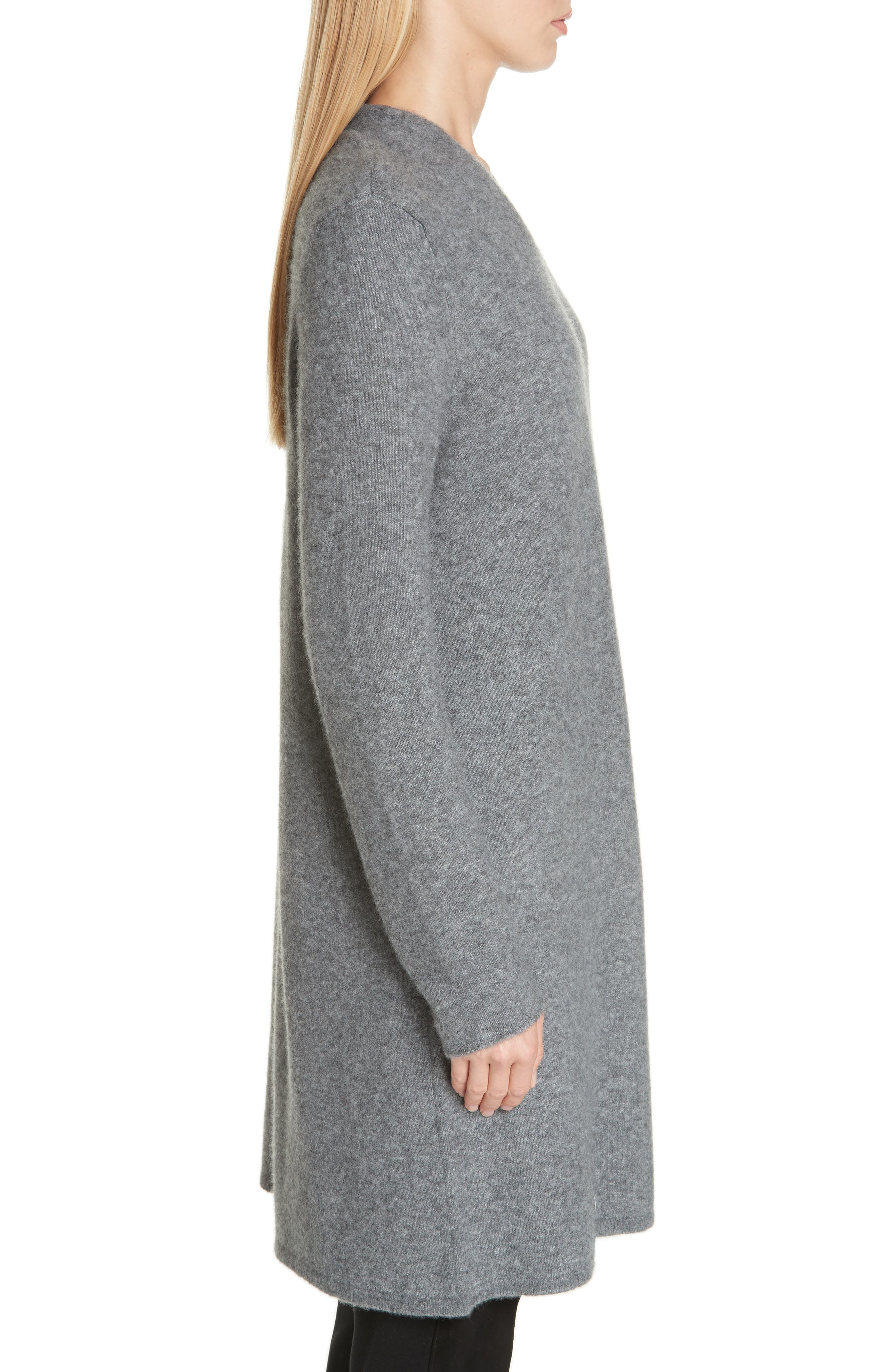 Cashmere & Silk Blend Open Cardigan,                             Alternate thumbnail 3, color,                             ASH