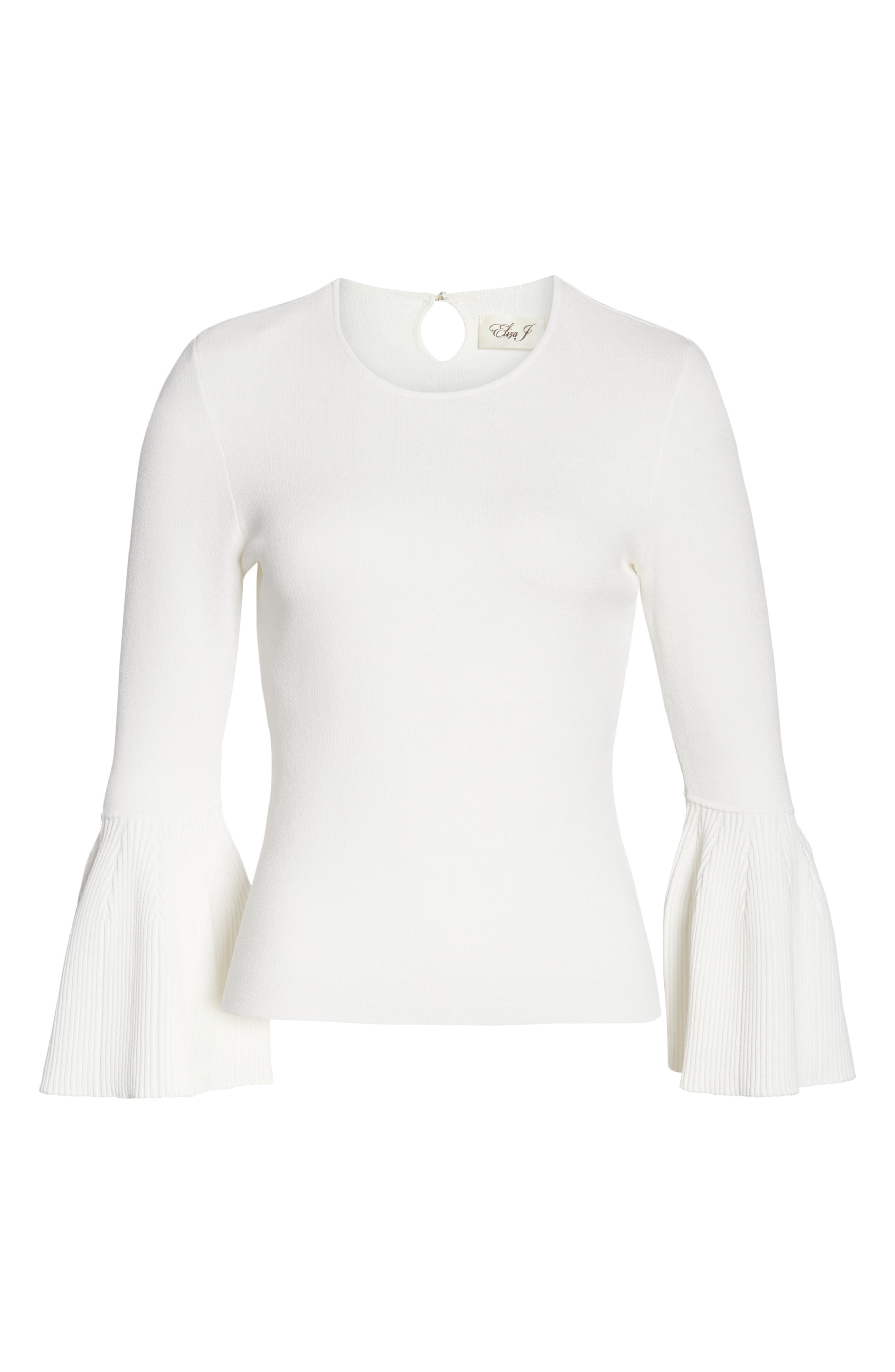 Bell Cuff Jewel Neck Sweater,                             Alternate thumbnail 7, color,                             IVORY