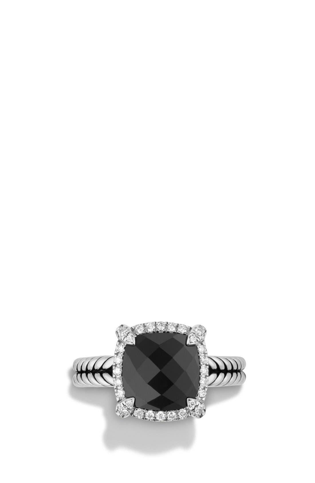 'Châtelaine' Small Pavé Bezel Ring with Diamonds,                             Alternate thumbnail 4, color,                             BLACK ONYX
