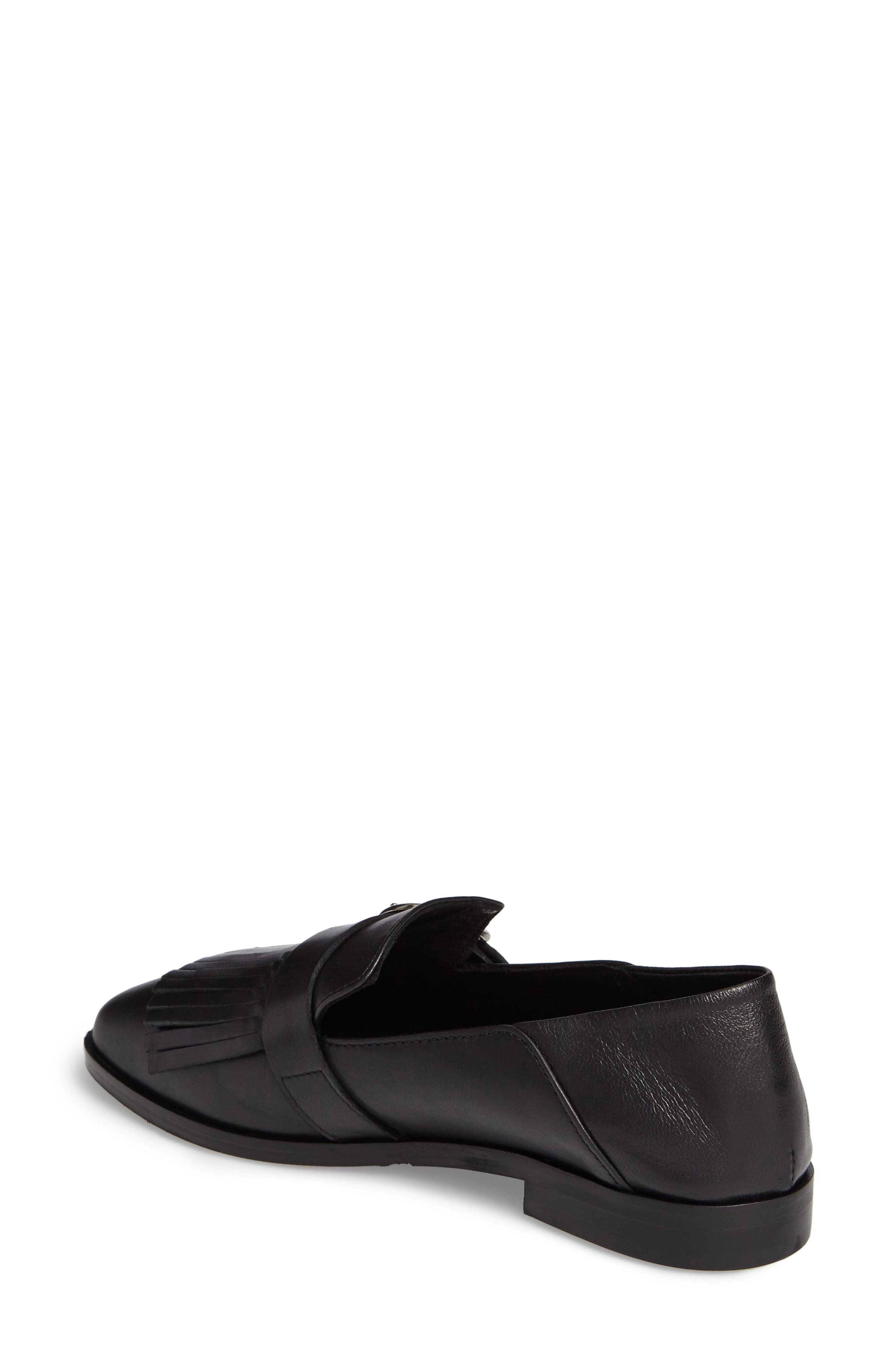 Dame Fringed Loafer Flat,                             Alternate thumbnail 2, color,                             001