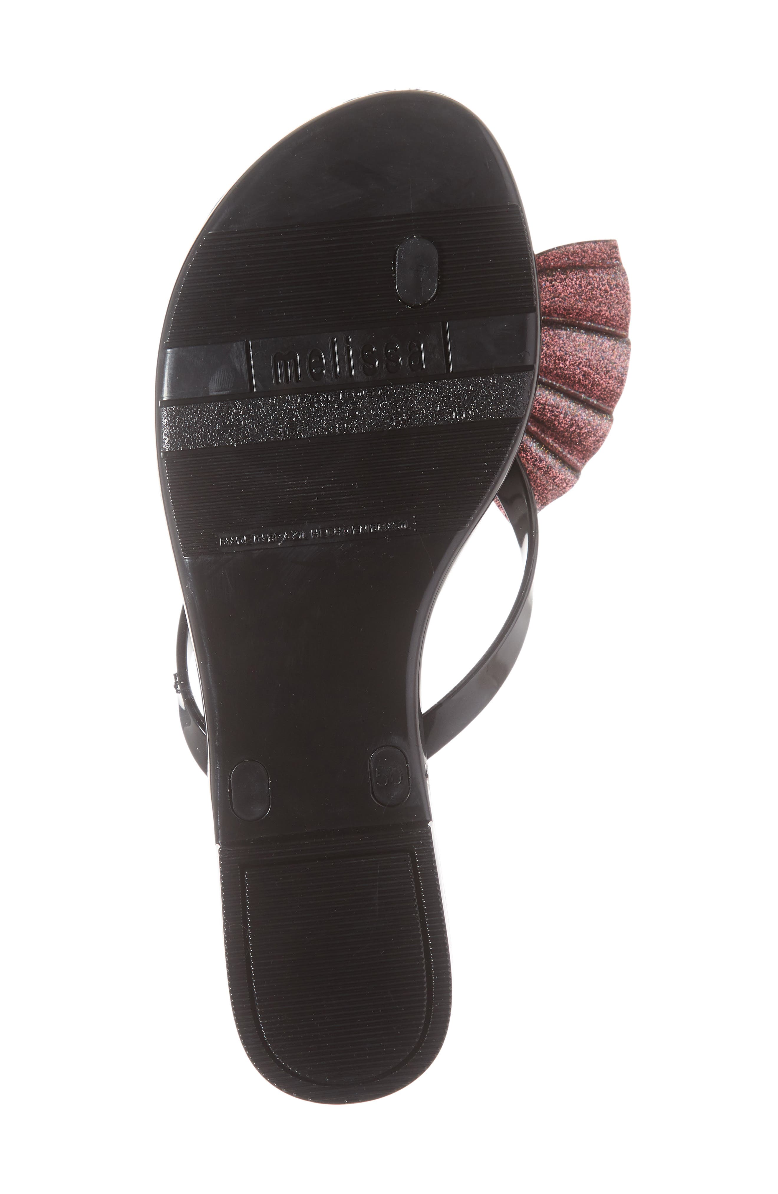Harmonic Bow VI Flip Flop,                             Alternate thumbnail 6, color,                             BLACK GLITTER RUBBER