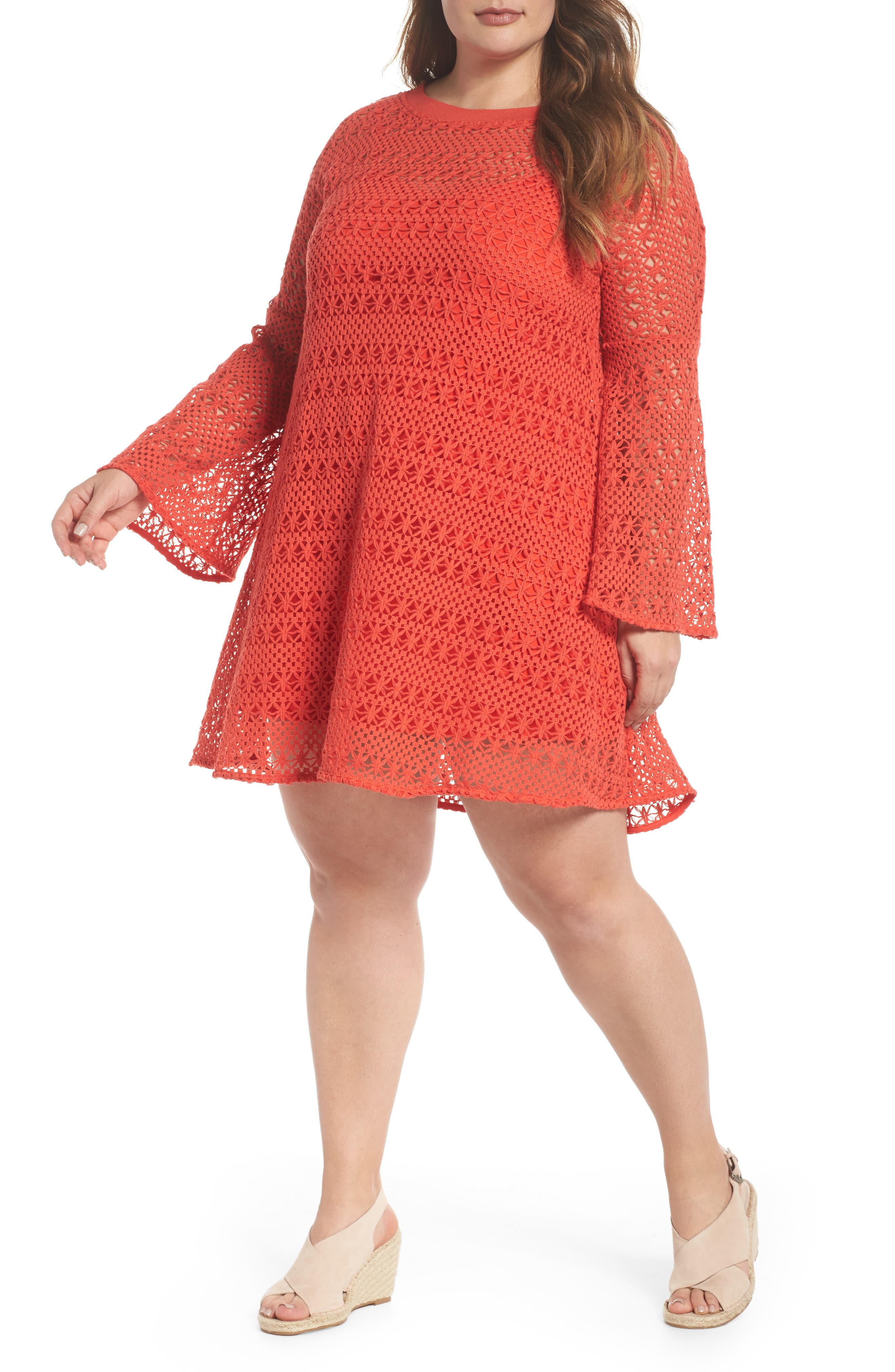 The Dahlia Bell Sleeve Crochet Shift Dress,                         Main,                         color, RED