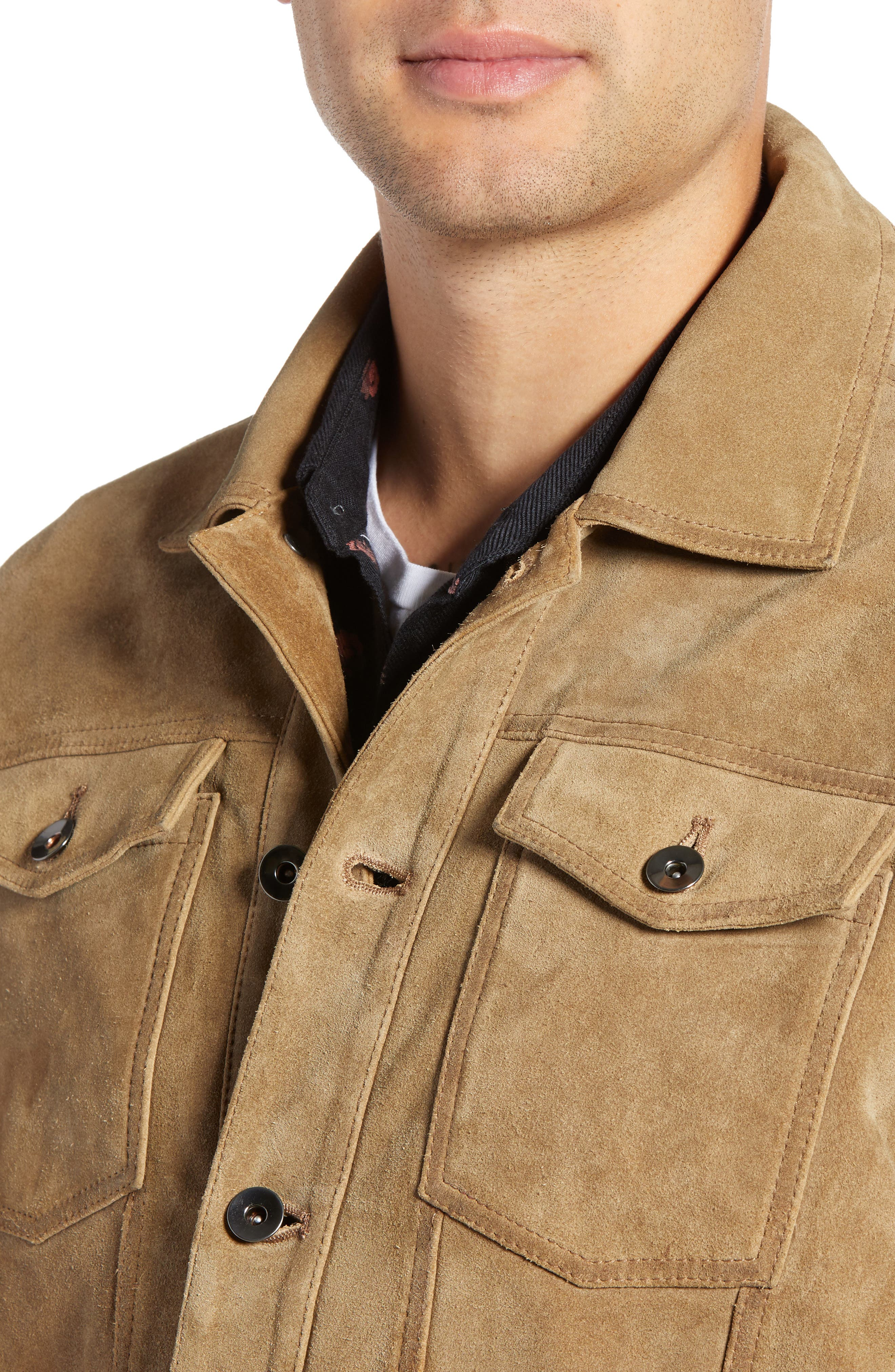 Suede Trucker Jacket,                             Alternate thumbnail 4, color,                             BROWN OTTER