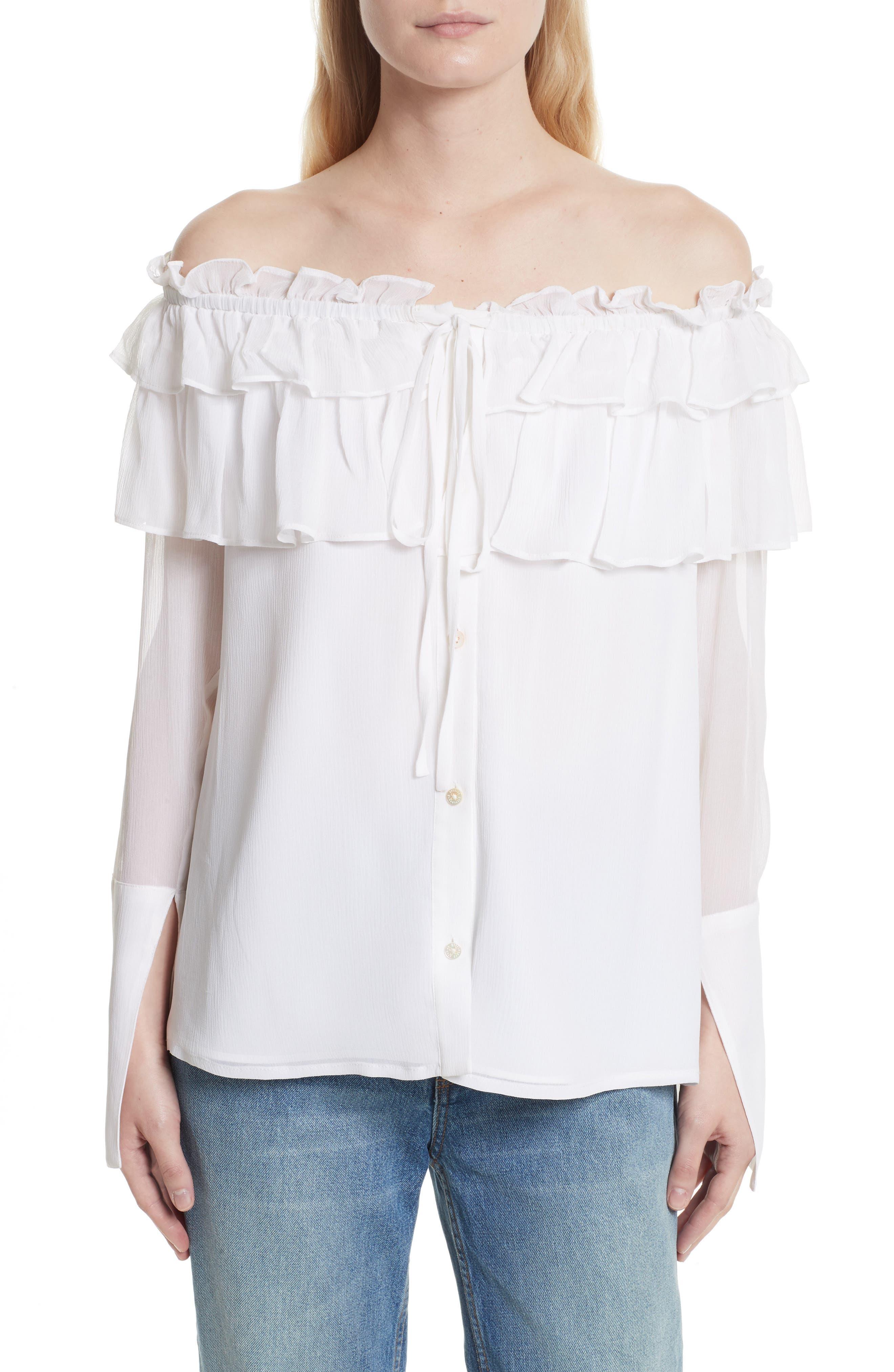 Off the Shoulder Silk Chiffon Top,                         Main,                         color, 100