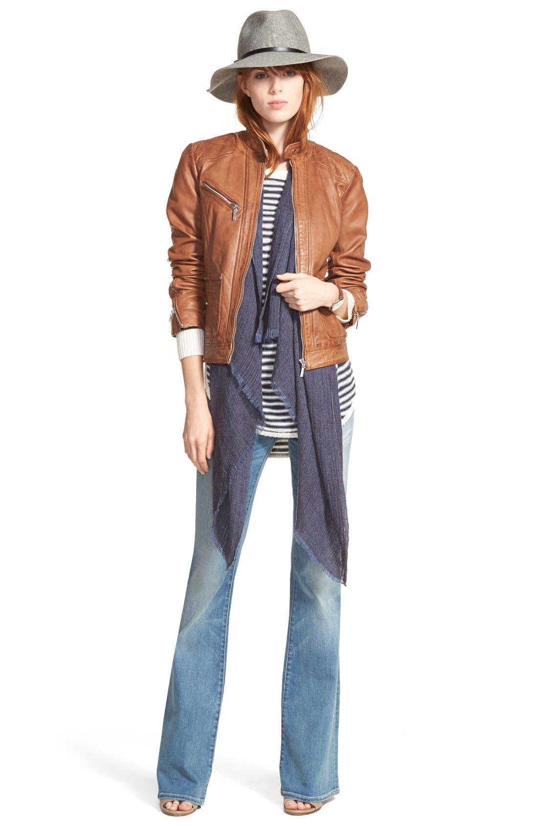 Zip Front Leather Jacket,                             Alternate thumbnail 6, color,