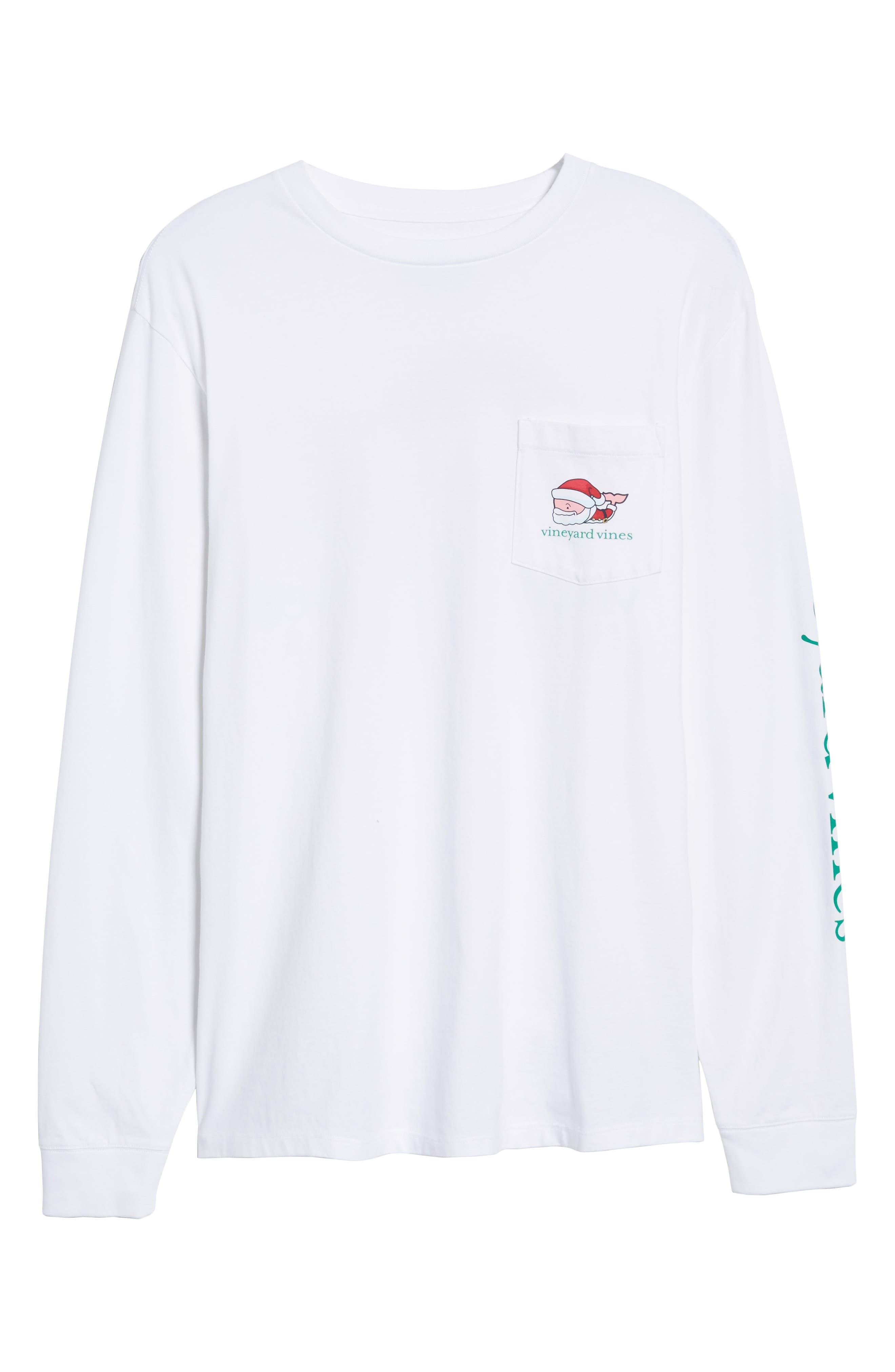 Mr. Claus Whale Graphic Pocket T-Shirt,                             Alternate thumbnail 6, color,                             100