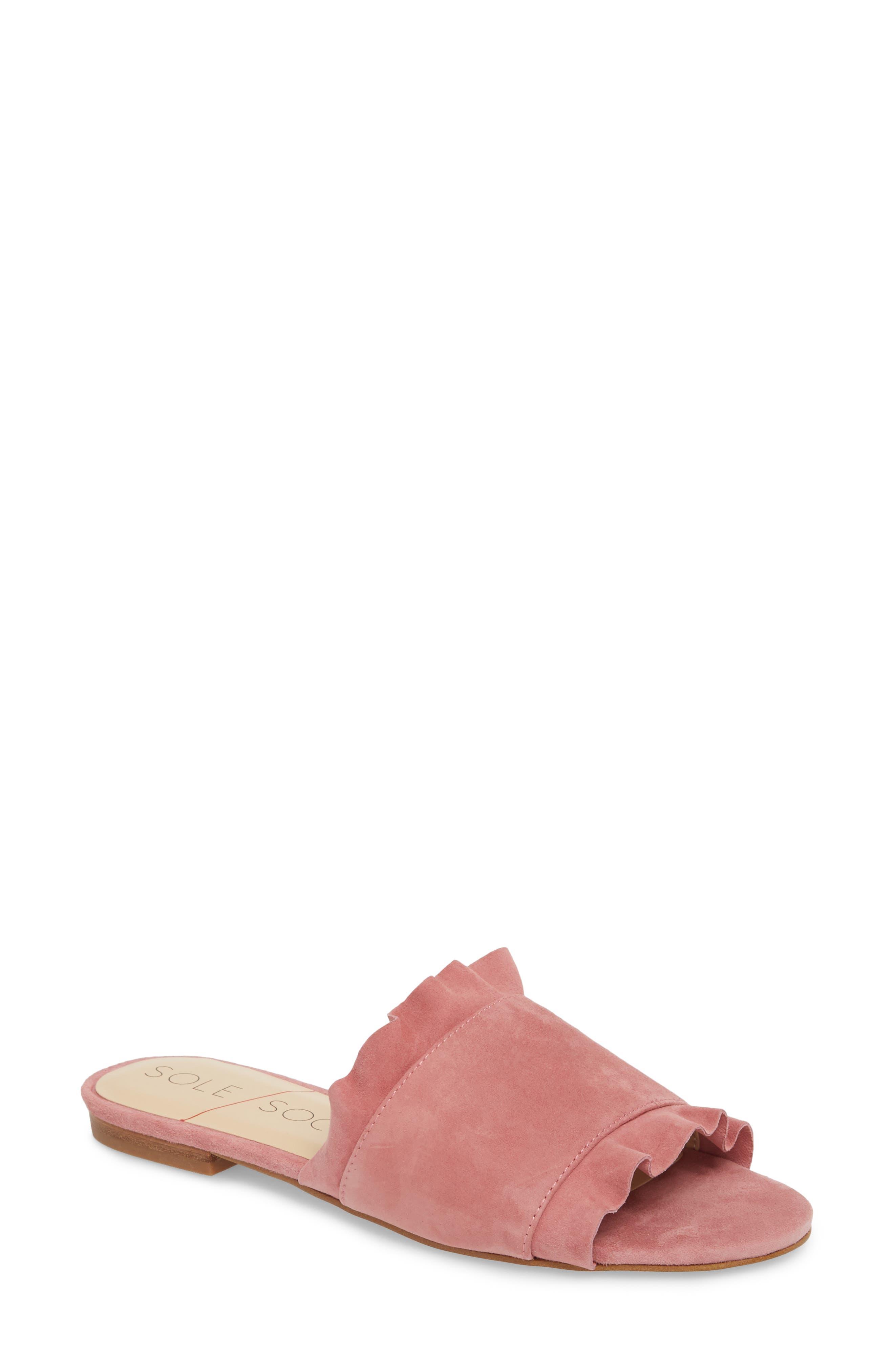 Sole Society So-Madalayne Flat Sandal- Pink
