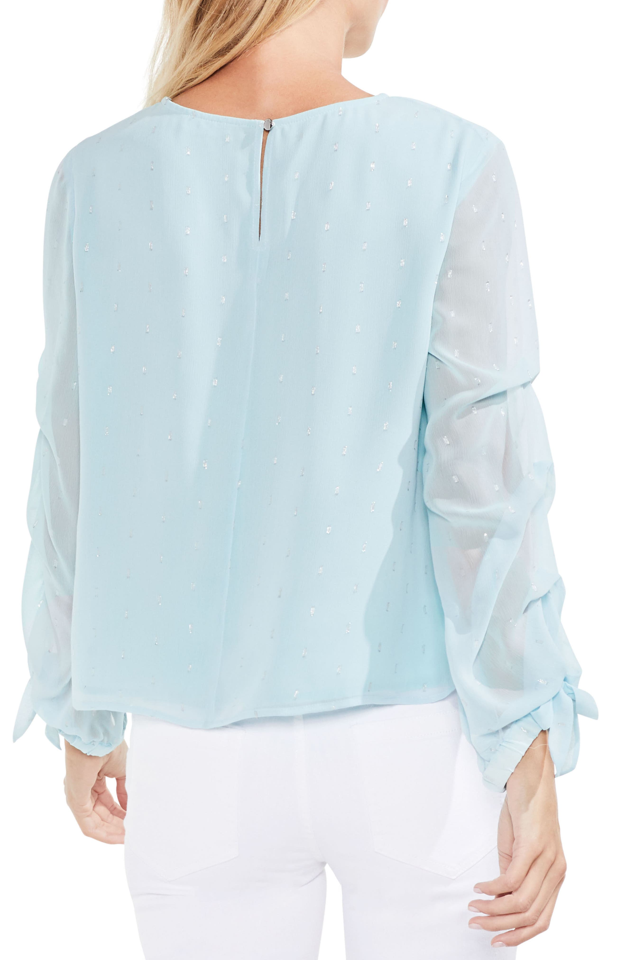 Tiered Sleeve Metallic Clip Dot Blouse,                             Alternate thumbnail 5, color,