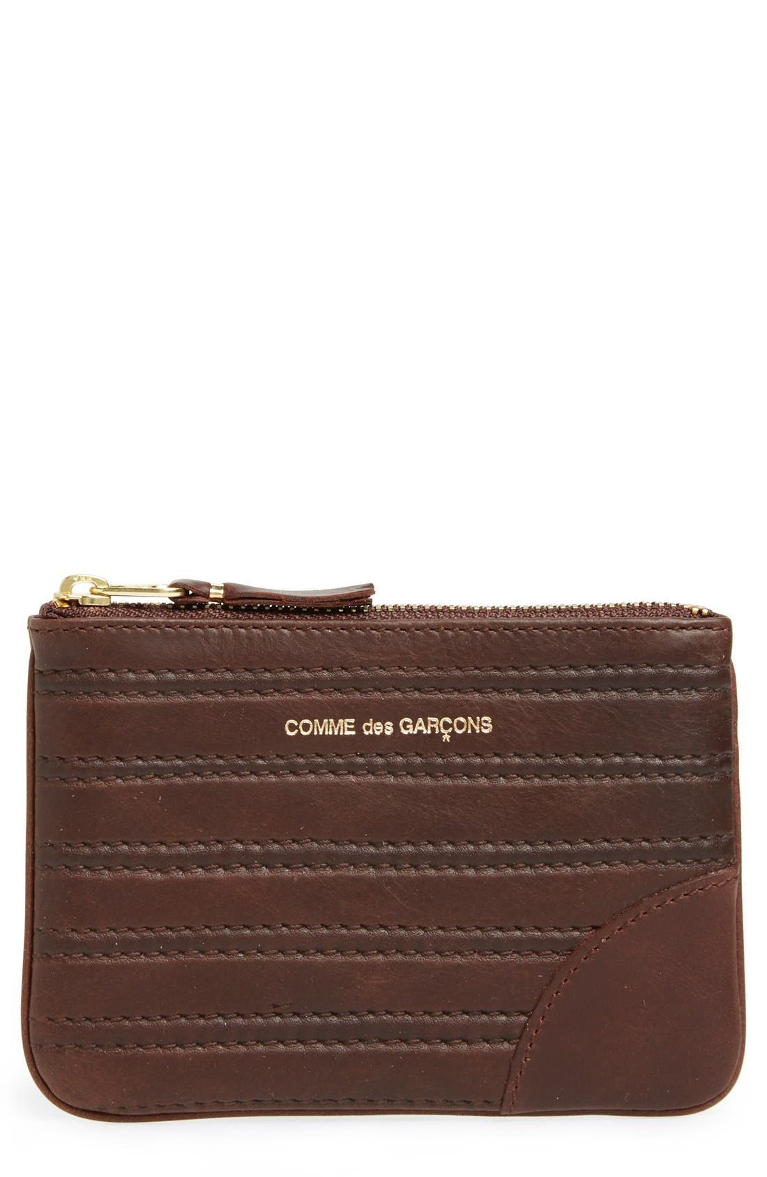 Embossed Leather Top Zip Pouch Wallet,                             Main thumbnail 3, color,