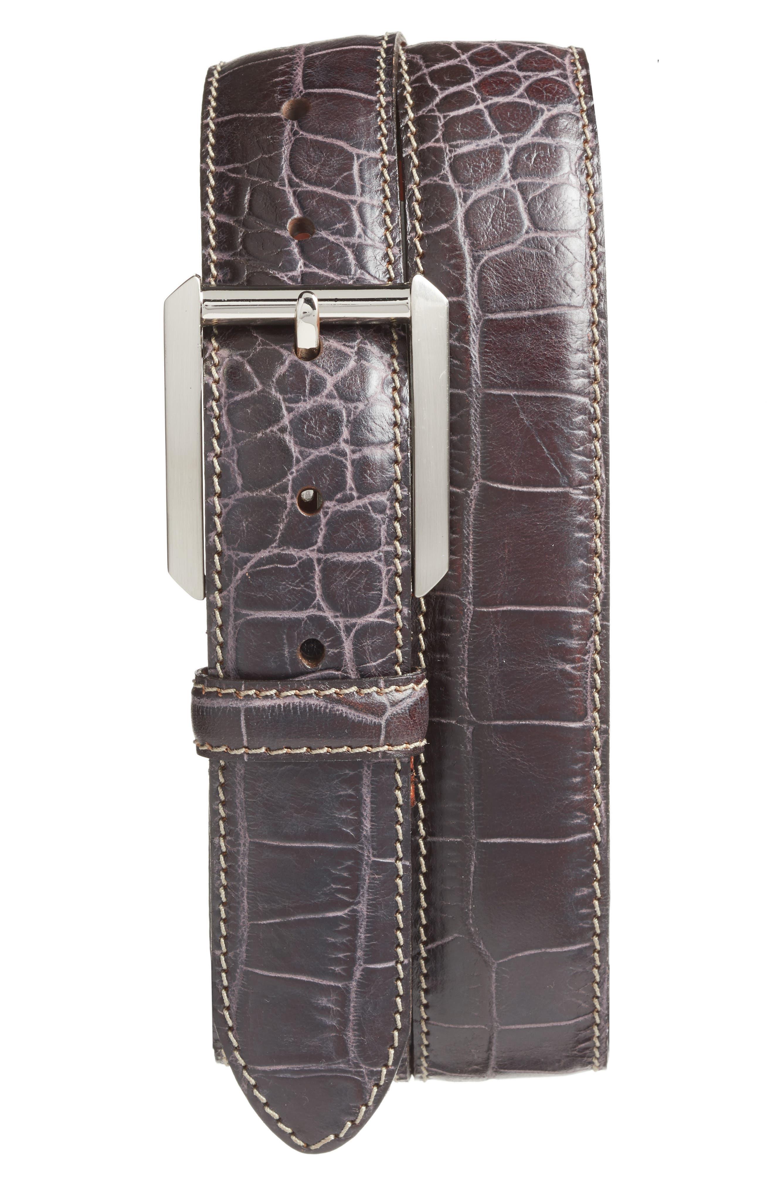 Embossed Leather Belt,                         Main,                         color, DARK BROWN