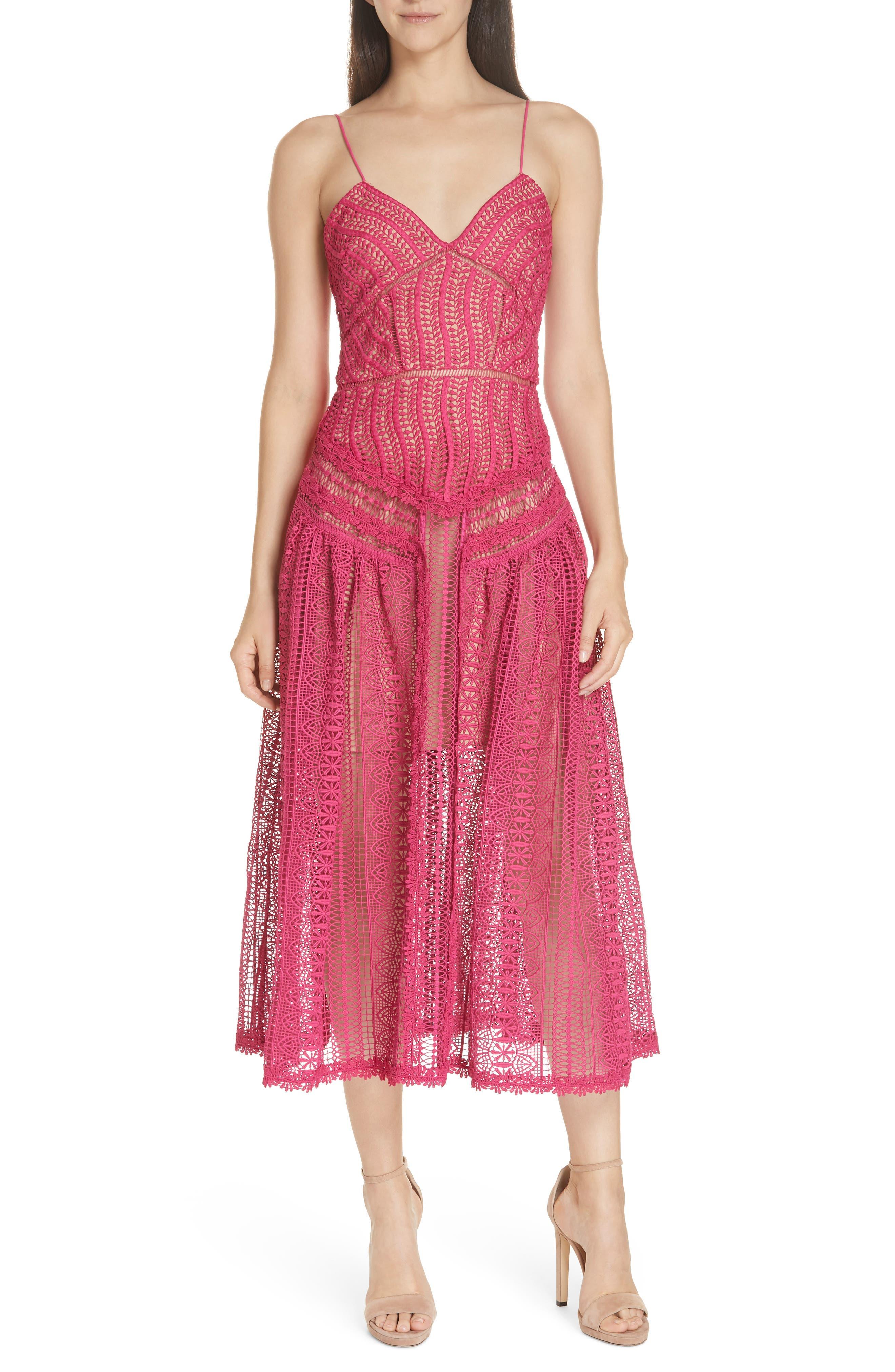 Self-Portrait Wave Lace Midi Dress, Pink