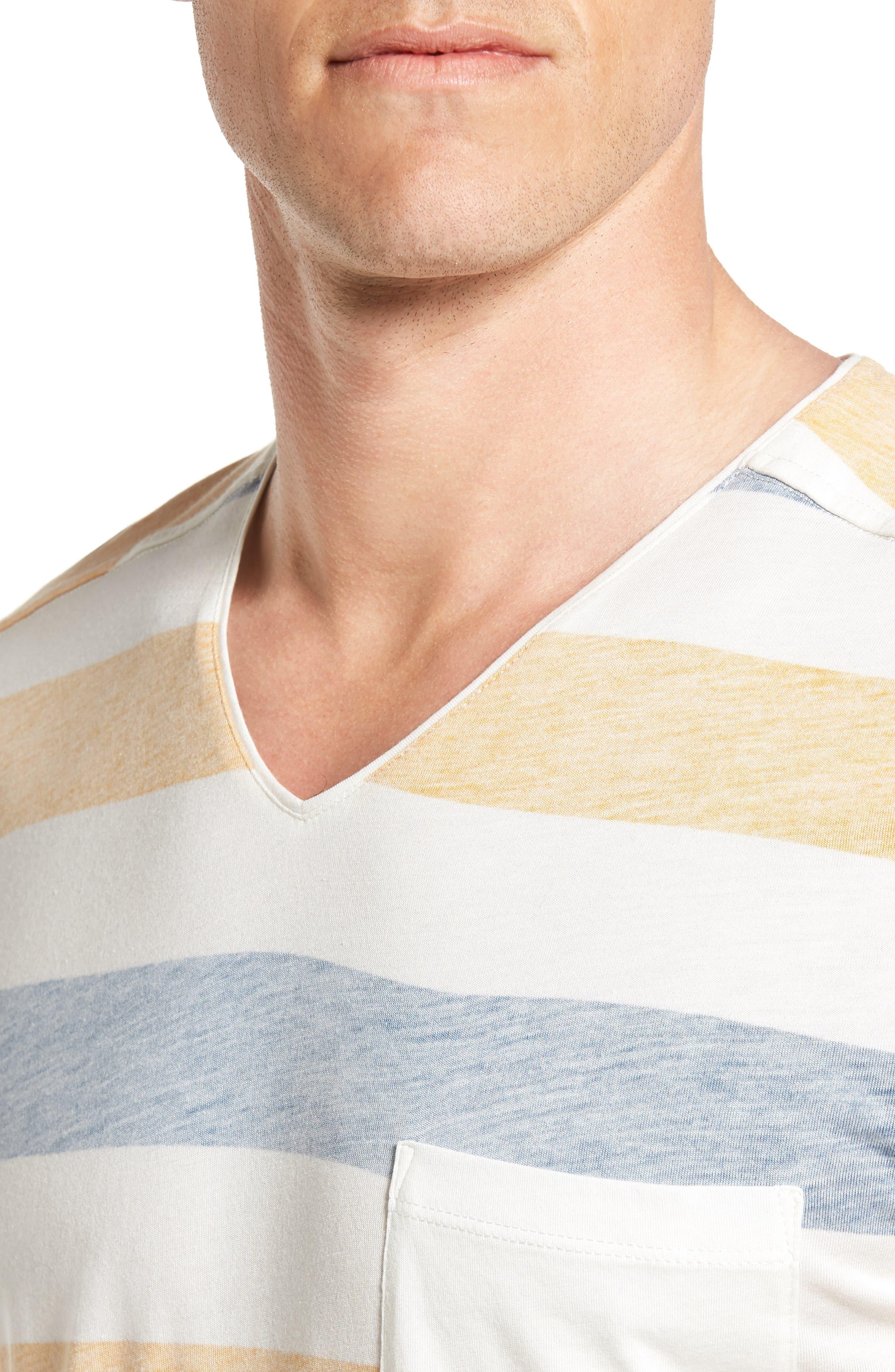 Reverse Stripe Pima Cotton & Modal V-Neck T-Shirt,                             Alternate thumbnail 4, color,                             106