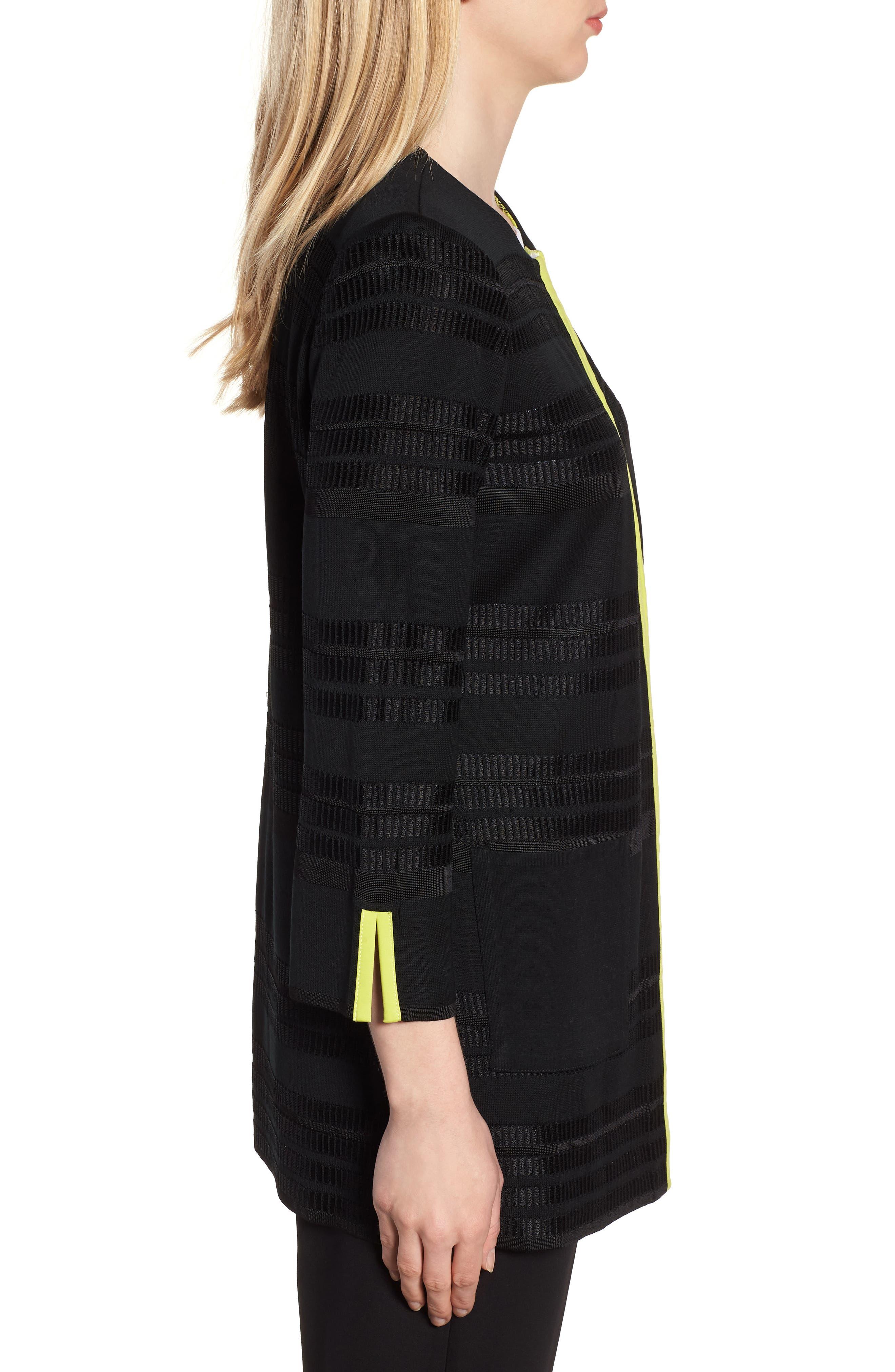 Long Jacquard Knit Jacket,                             Alternate thumbnail 3, color,                             BLACK/ PEAR/ WHITE