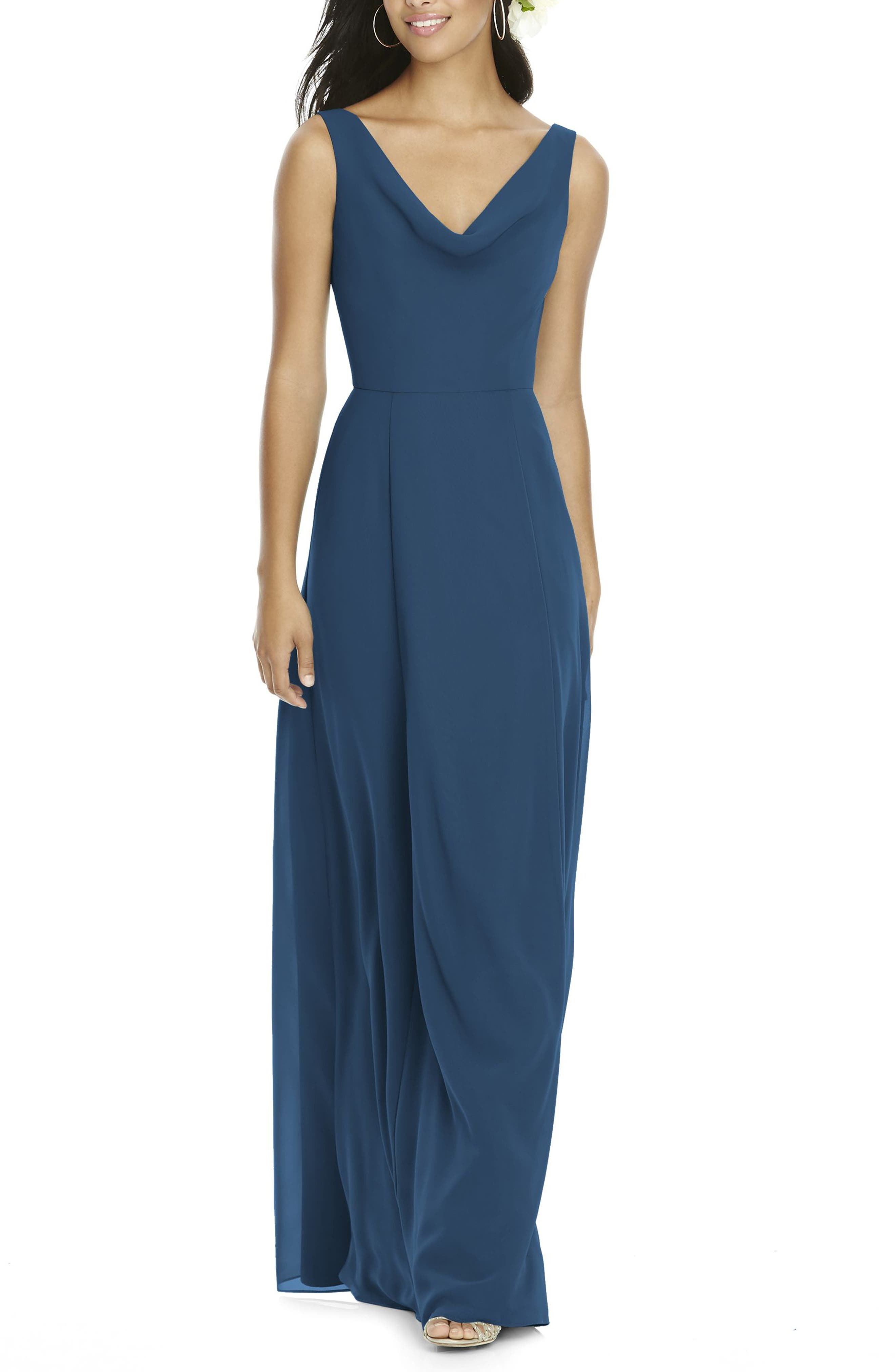 Cowl Neck Chiffon Gown,                             Alternate thumbnail 3, color,                             409
