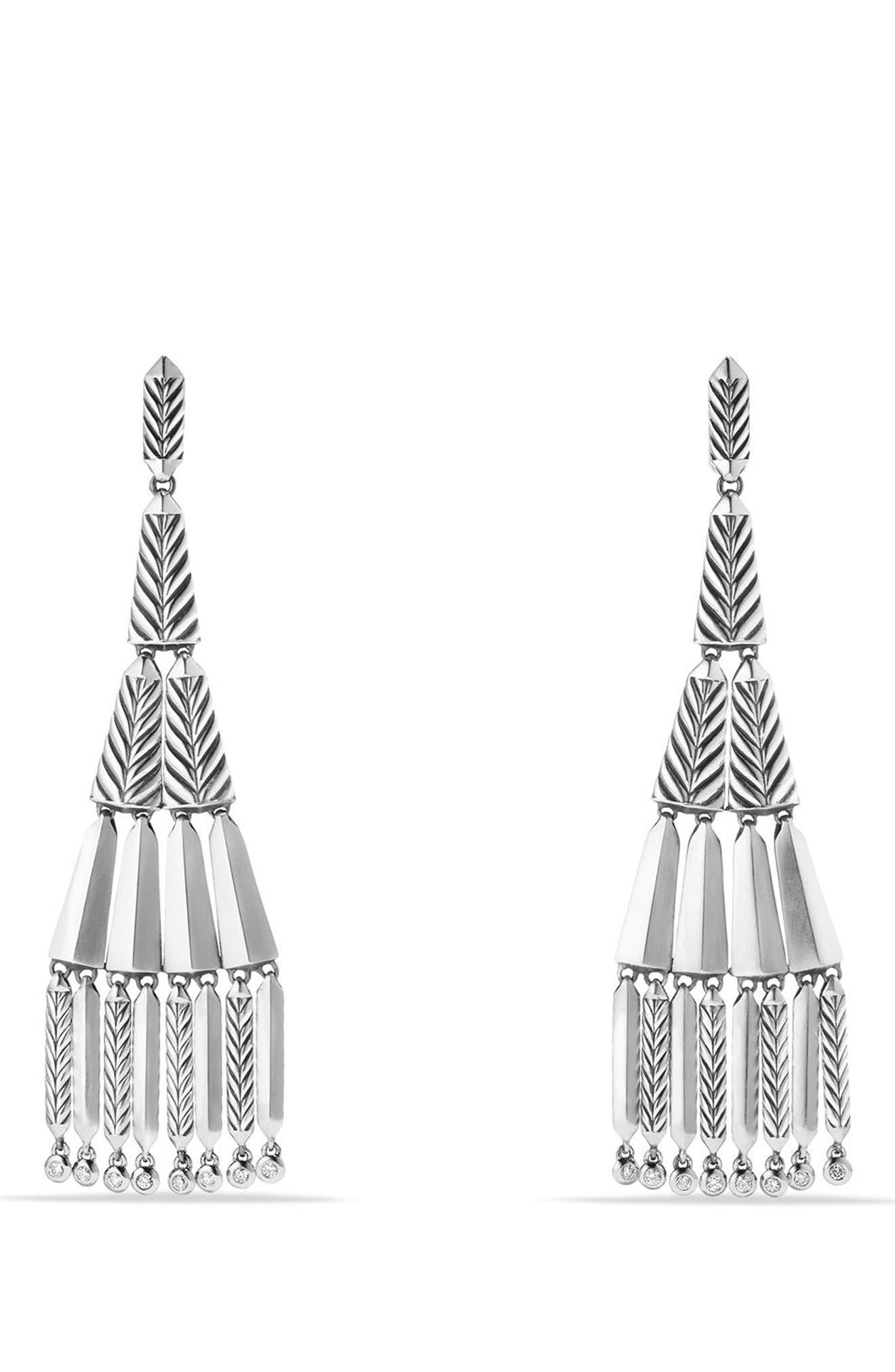 DAVID YURMAN Stax Fringe Earrings with Diamonds, Main, color, SILVER