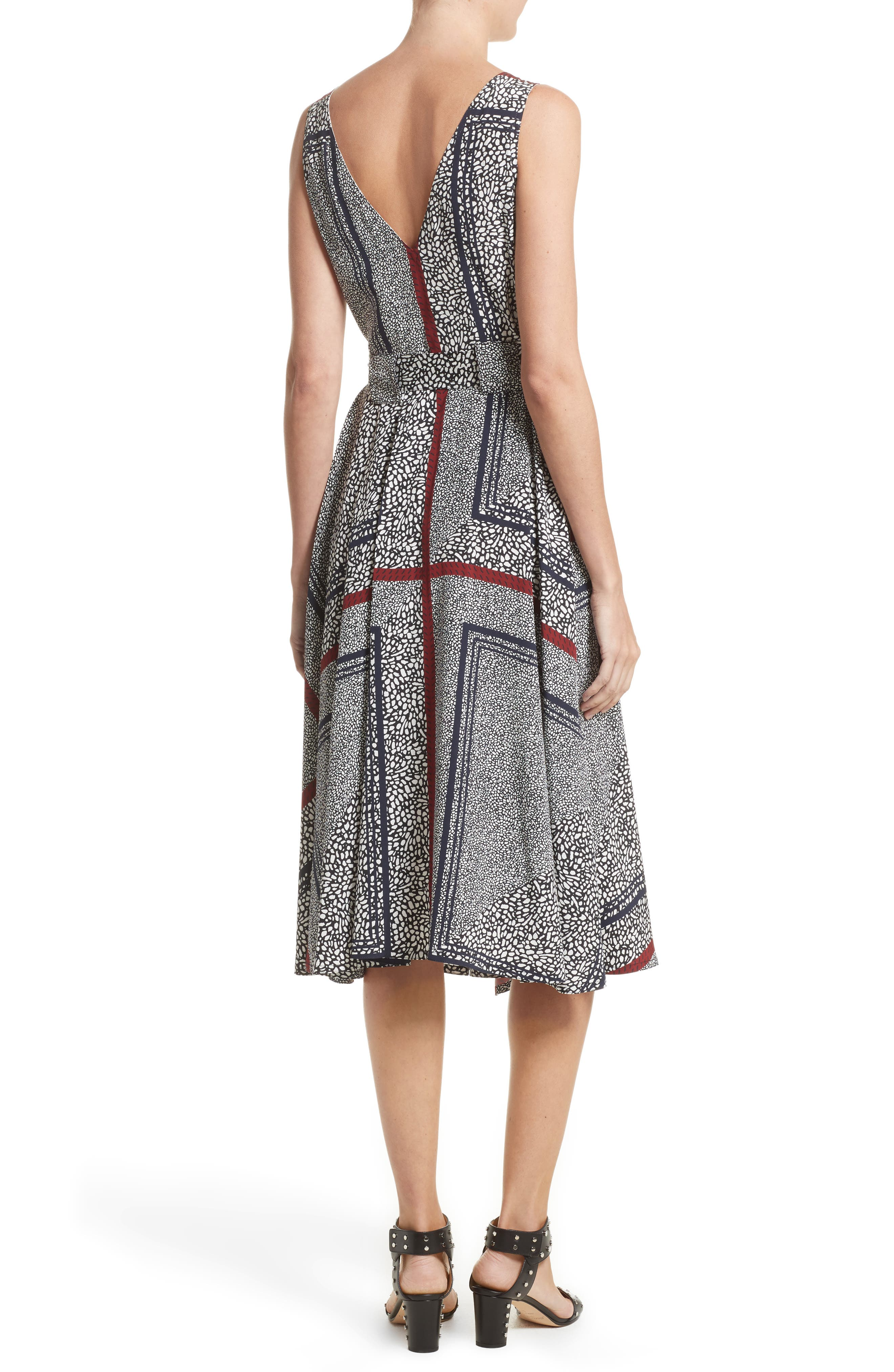 Print Pleated Silk Wrap Dress,                             Alternate thumbnail 2, color,                             001