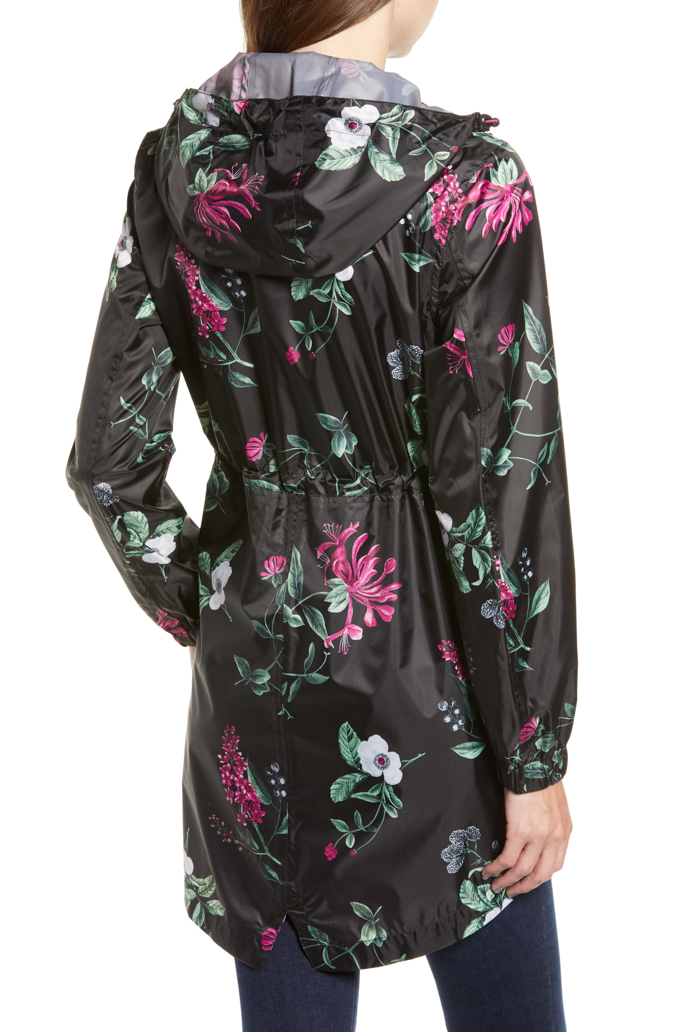 Right as Rain Packable Print Hooded Raincoat,                             Alternate thumbnail 2, color,                             BLACK HEDGEROW