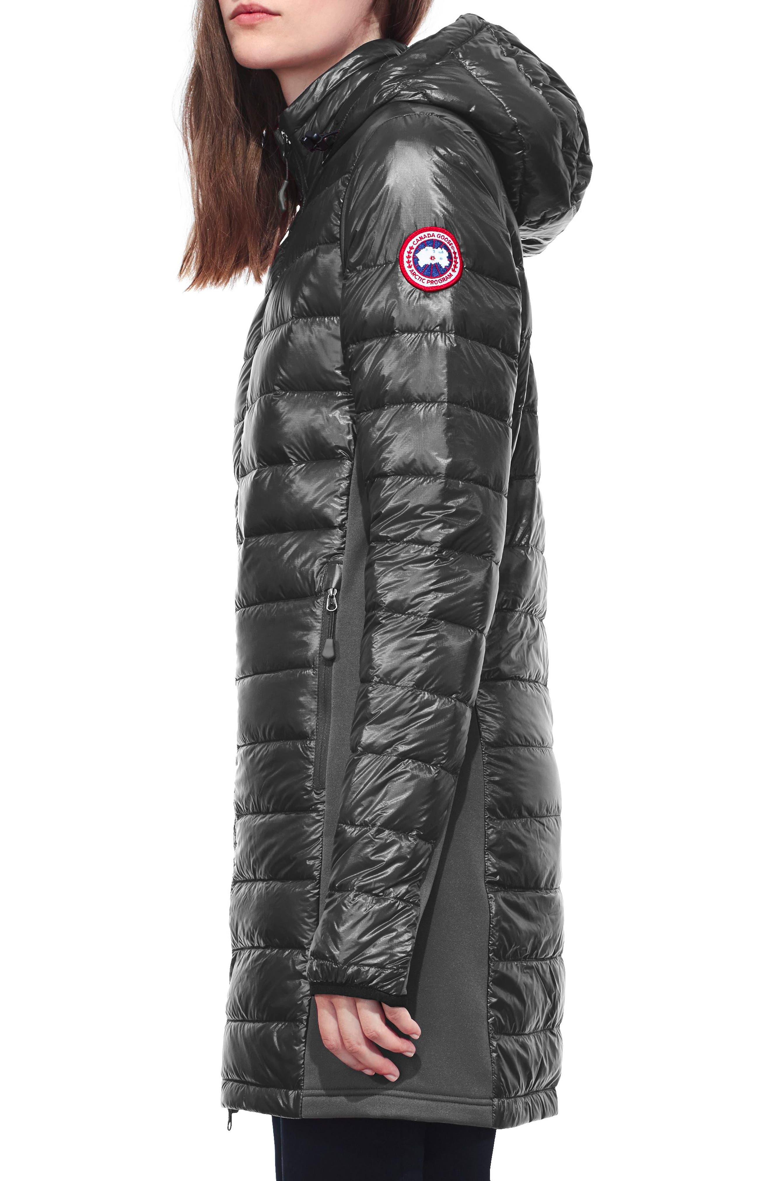 Hybridge Lite Slim Fit Hooded Packable Goose Down Coat,                             Alternate thumbnail 3, color,                             GRAPHITE/ BLACK