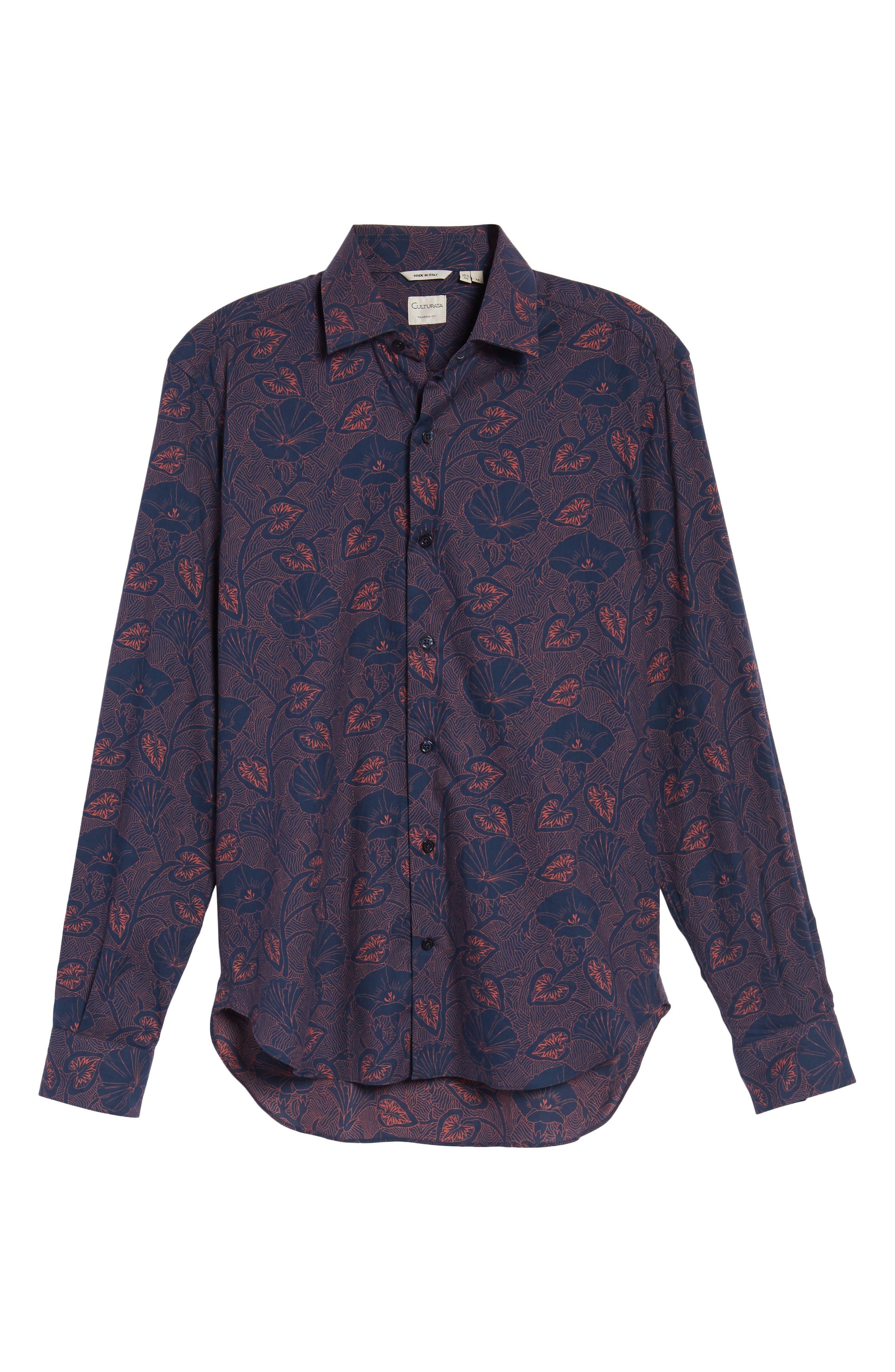Floral Twill Sport Shirt,                             Alternate thumbnail 6, color,                             400