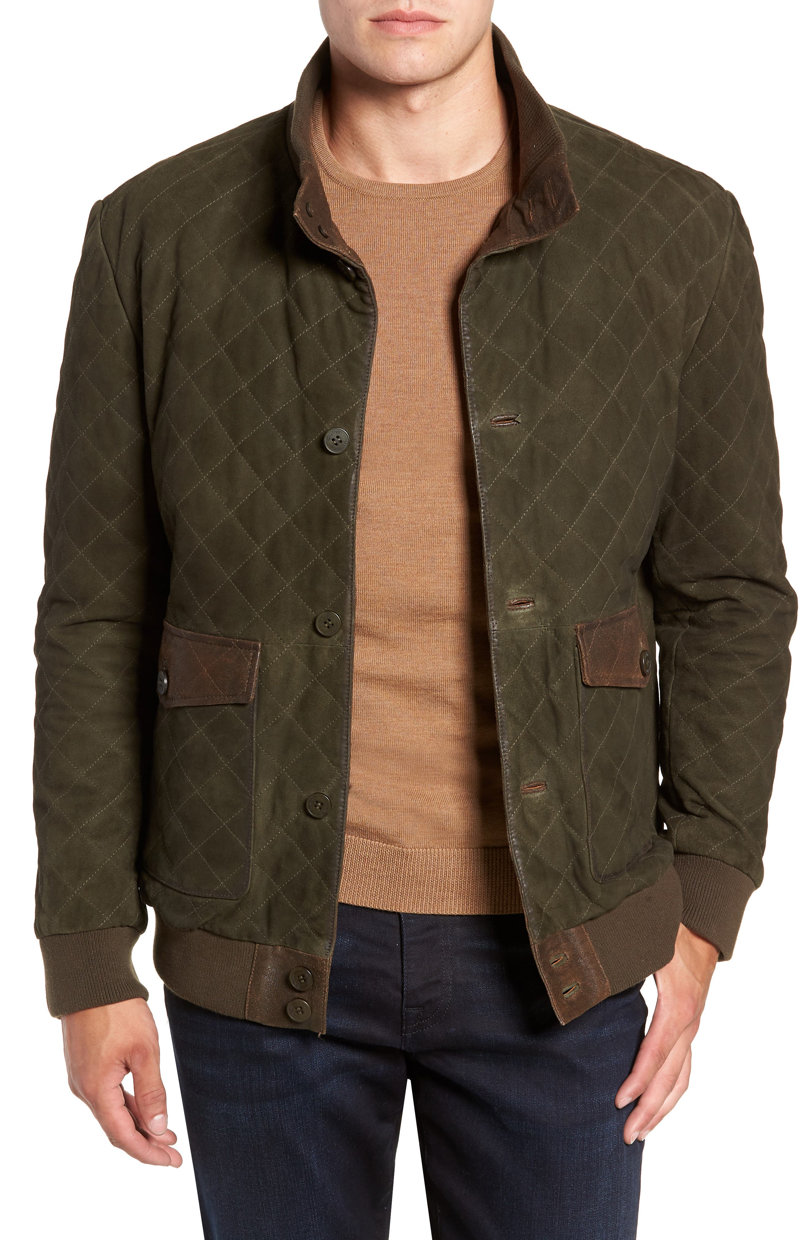 Regular Fit Quilted Suede Jacket,                             Main thumbnail 1, color,                             OLIVE
