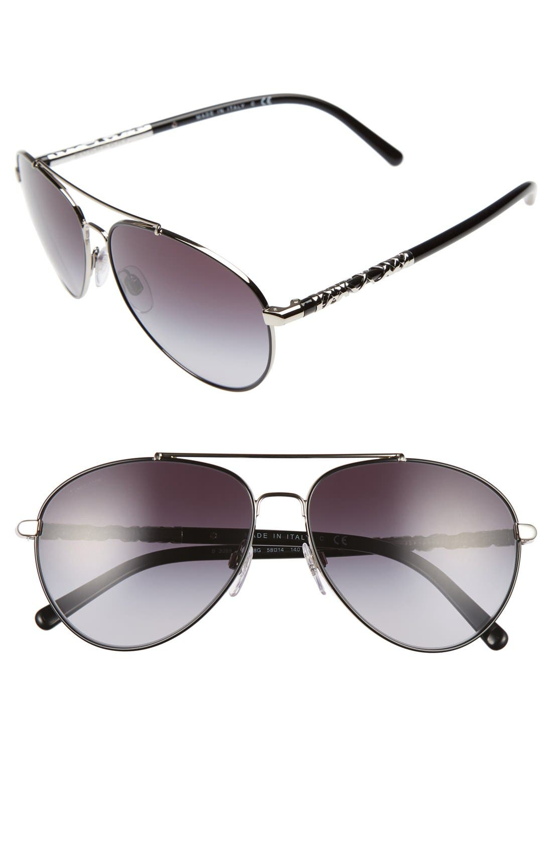58mm Aviator Sunglasses,                         Main,                         color, 020