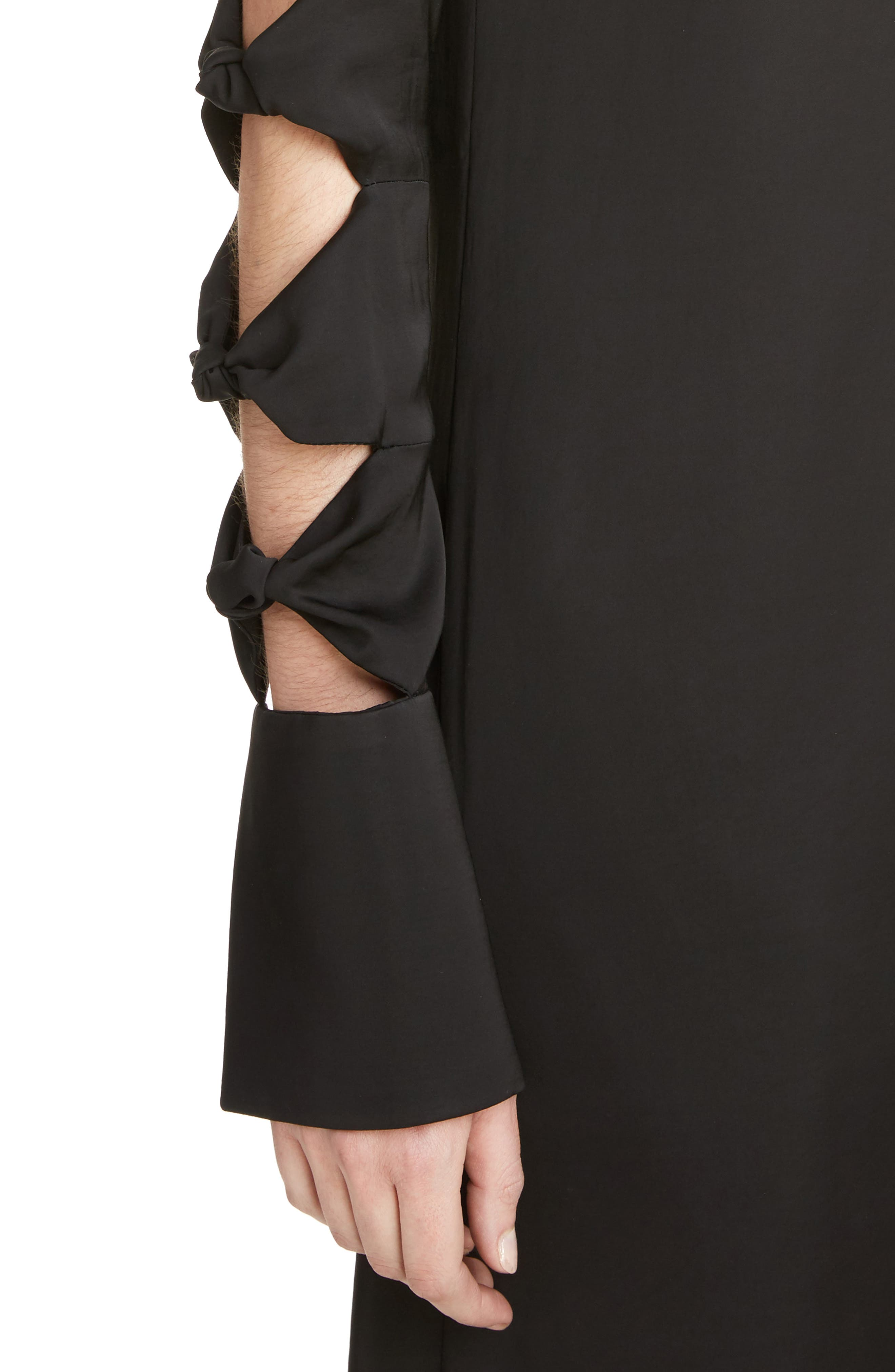 Knotted Sleeve Dress,                             Alternate thumbnail 4, color,                             001