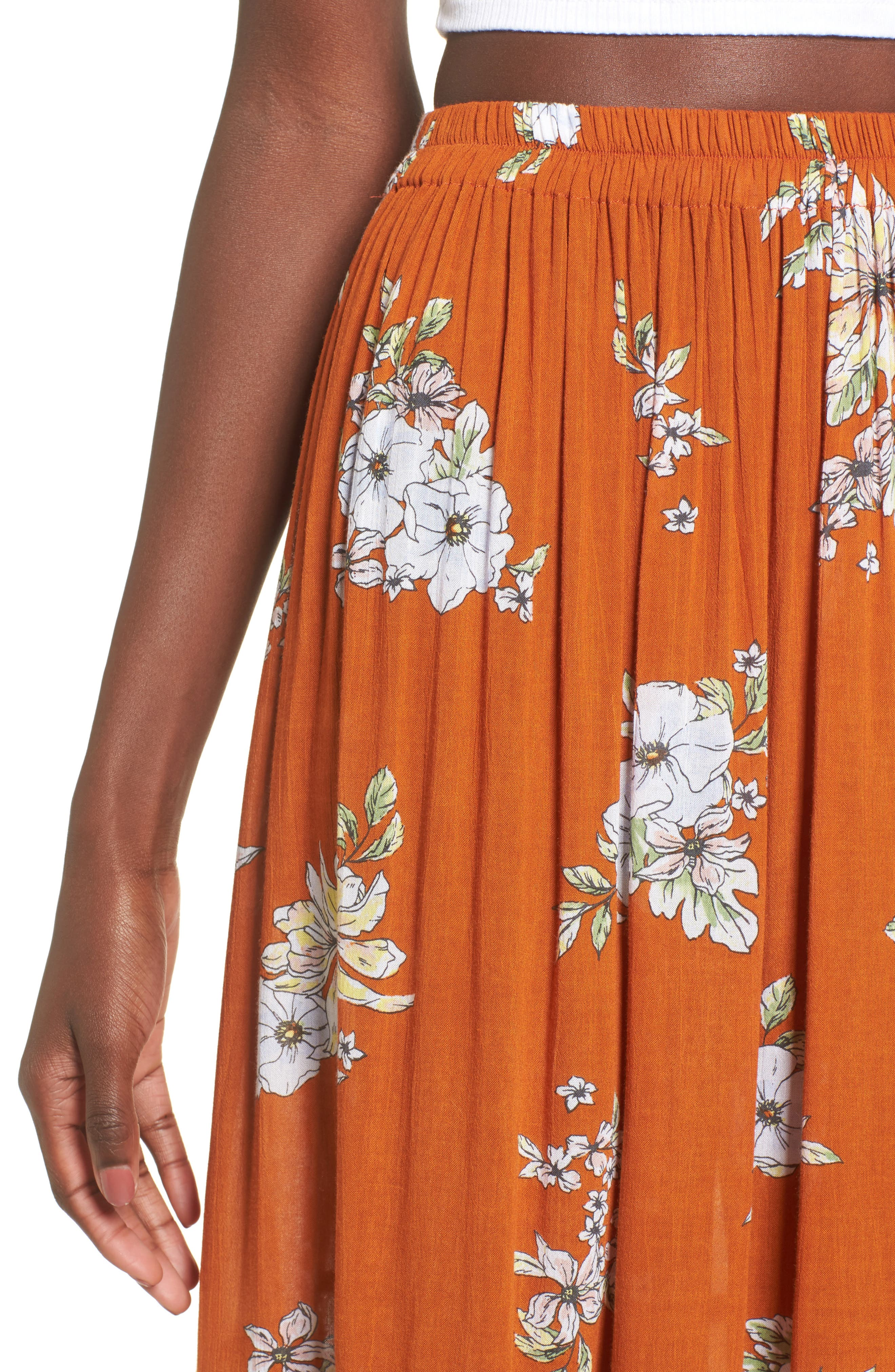 Rosewood Floral Tiered Skirt,                             Alternate thumbnail 4, color,