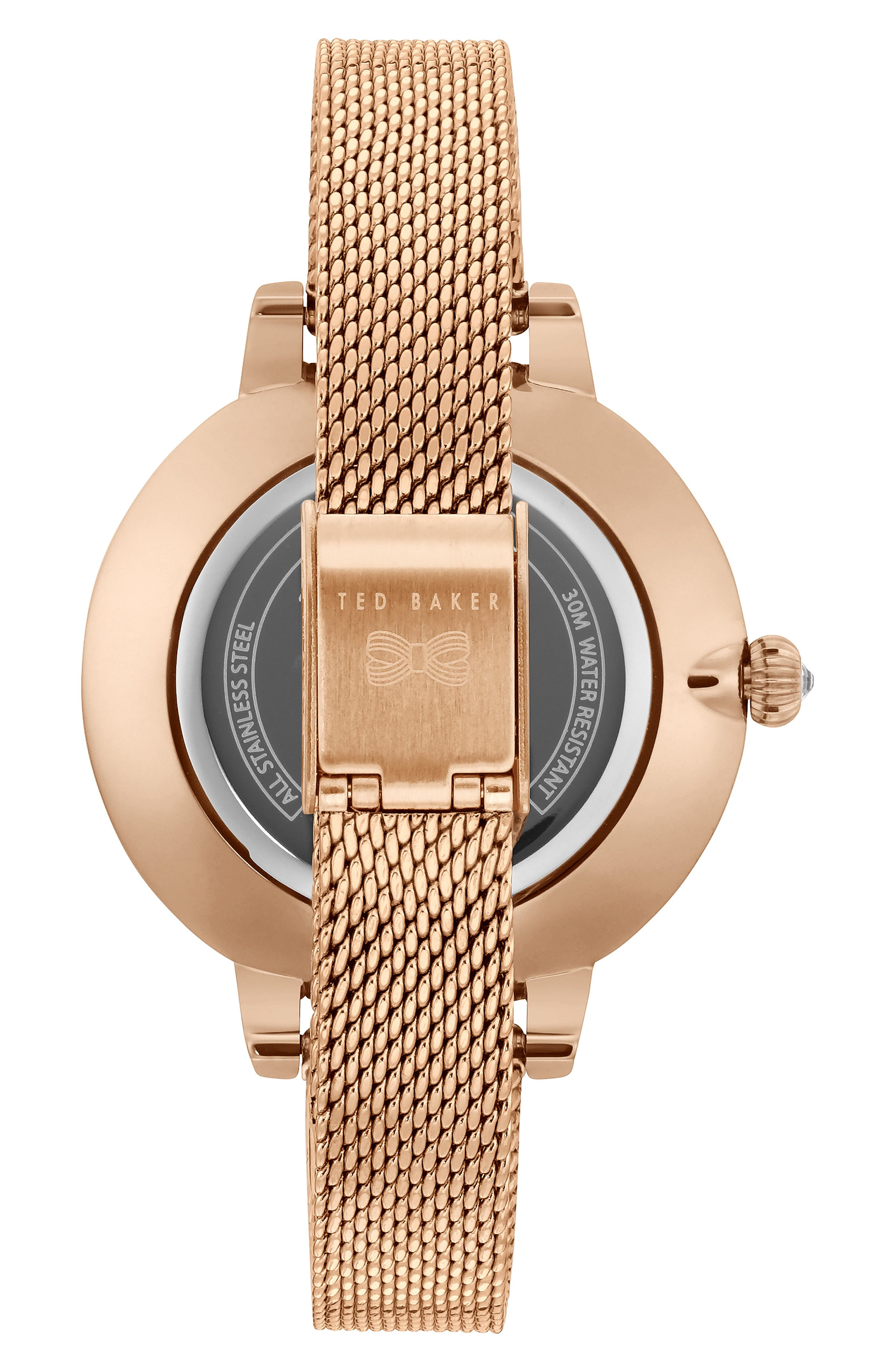 Kate Mesh Strap Watch, 36mm,                             Alternate thumbnail 2, color,                             ROSE GOLD/ FLORAL/ ROSE GOLD