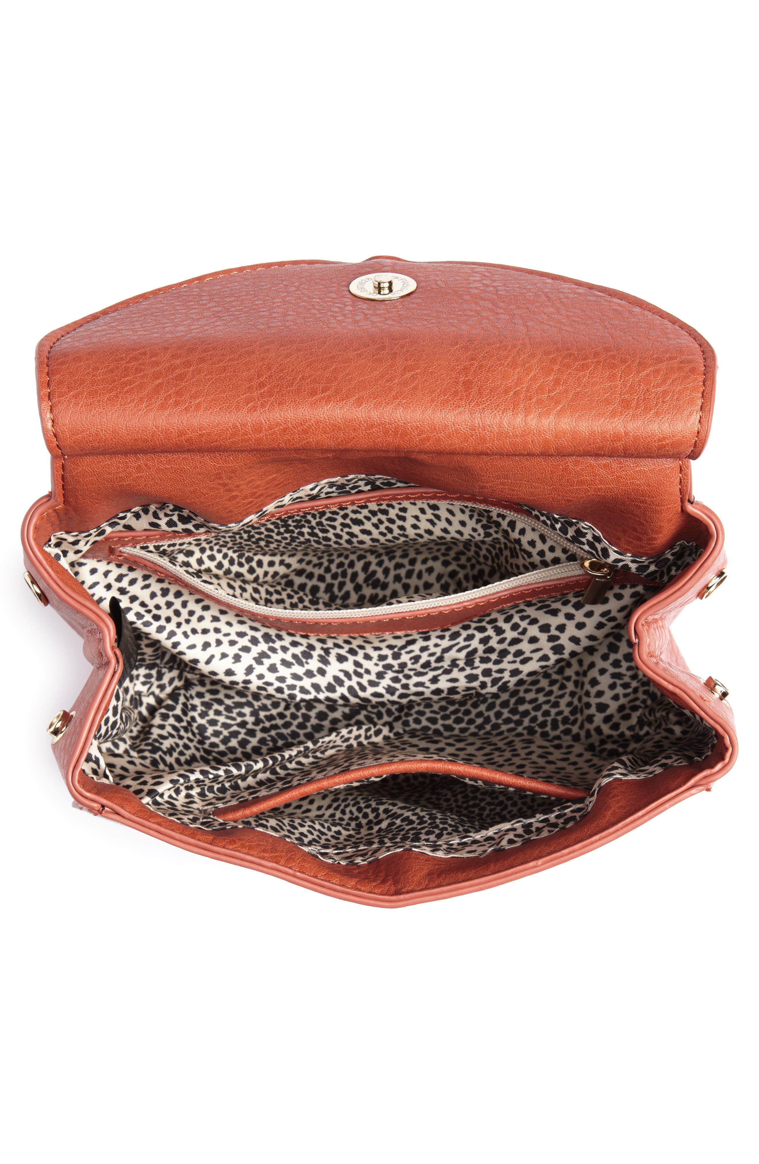 Tassel Faux Leather Crossbody Saddle Bag,                             Alternate thumbnail 8, color,