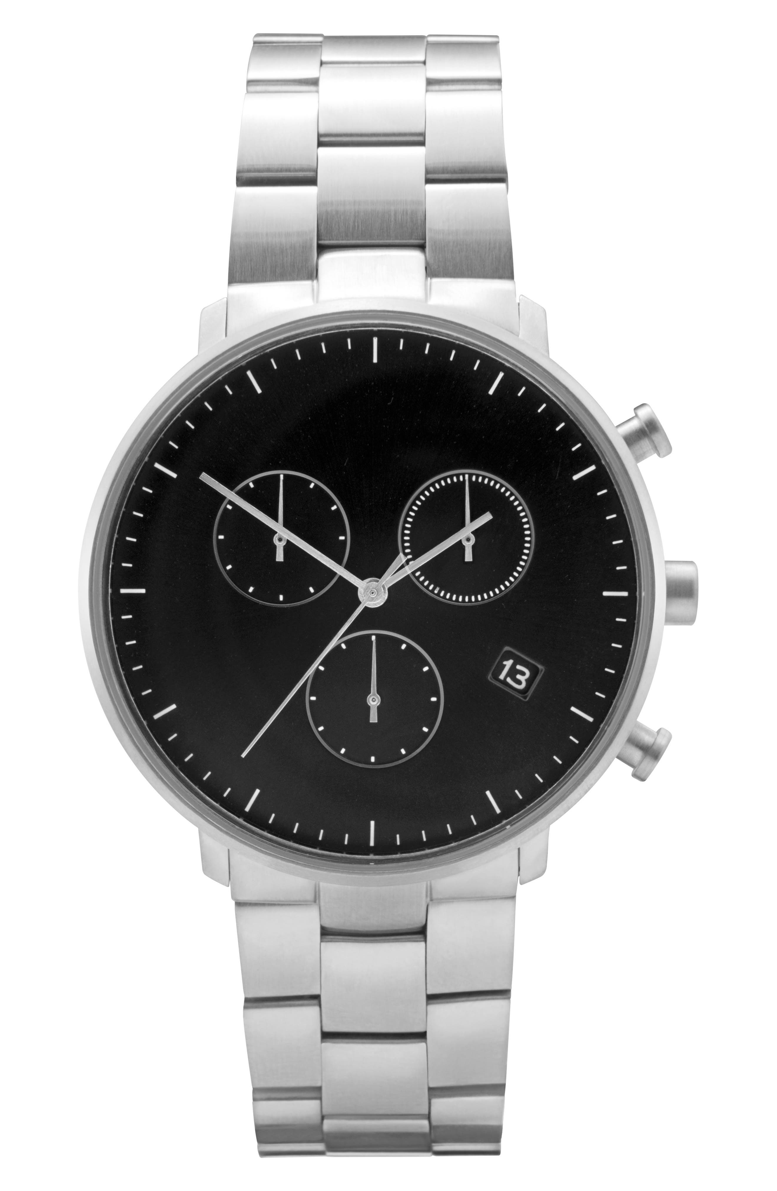 Leonard & Church Bleeker Chronograph Bracelet Watch, 40mm,                         Main,                         color, SILVER/ BLACK/ SILVER