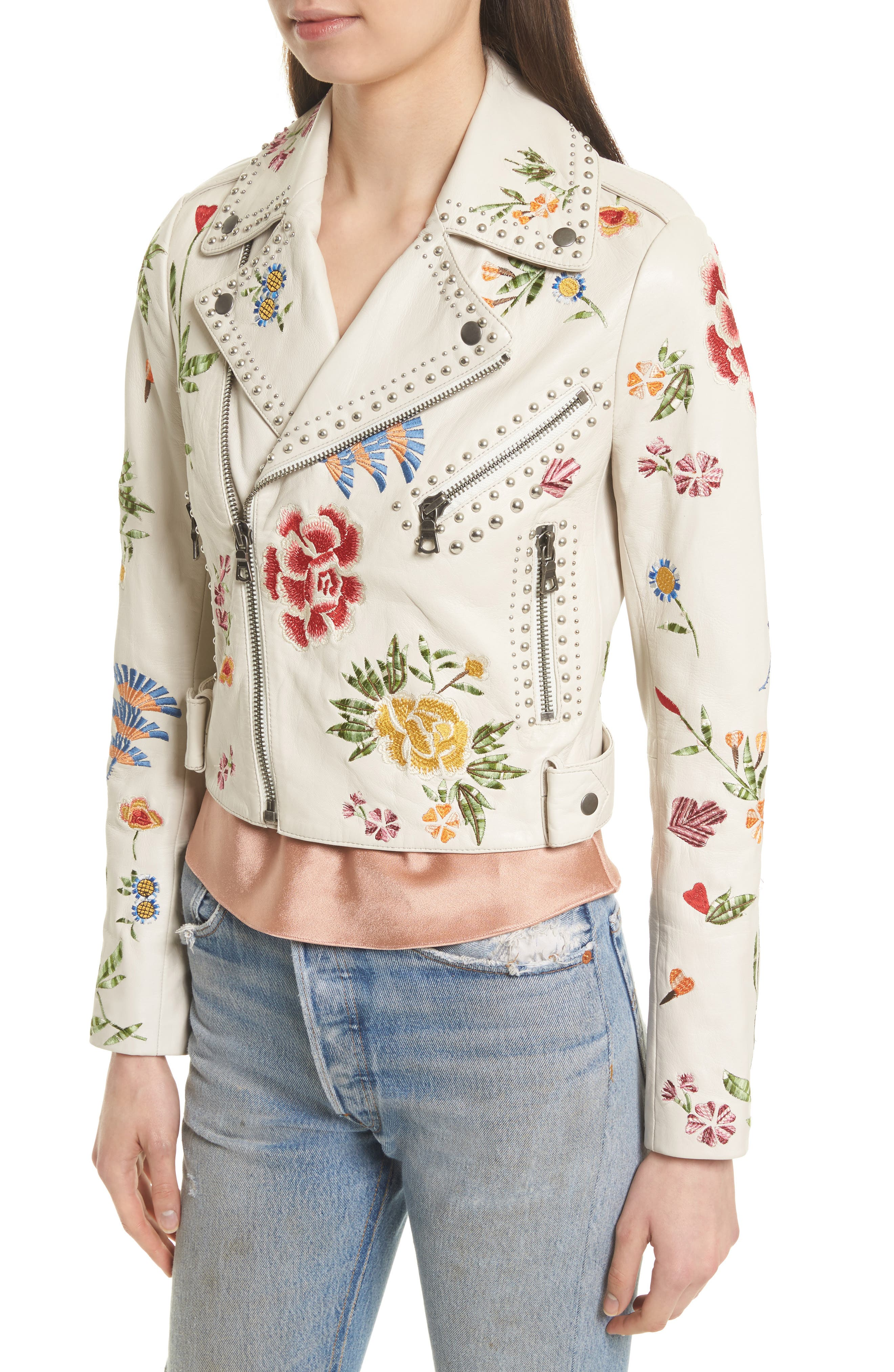 Cody Embroidered Crop Leather Jacket,                             Alternate thumbnail 4, color,                             253