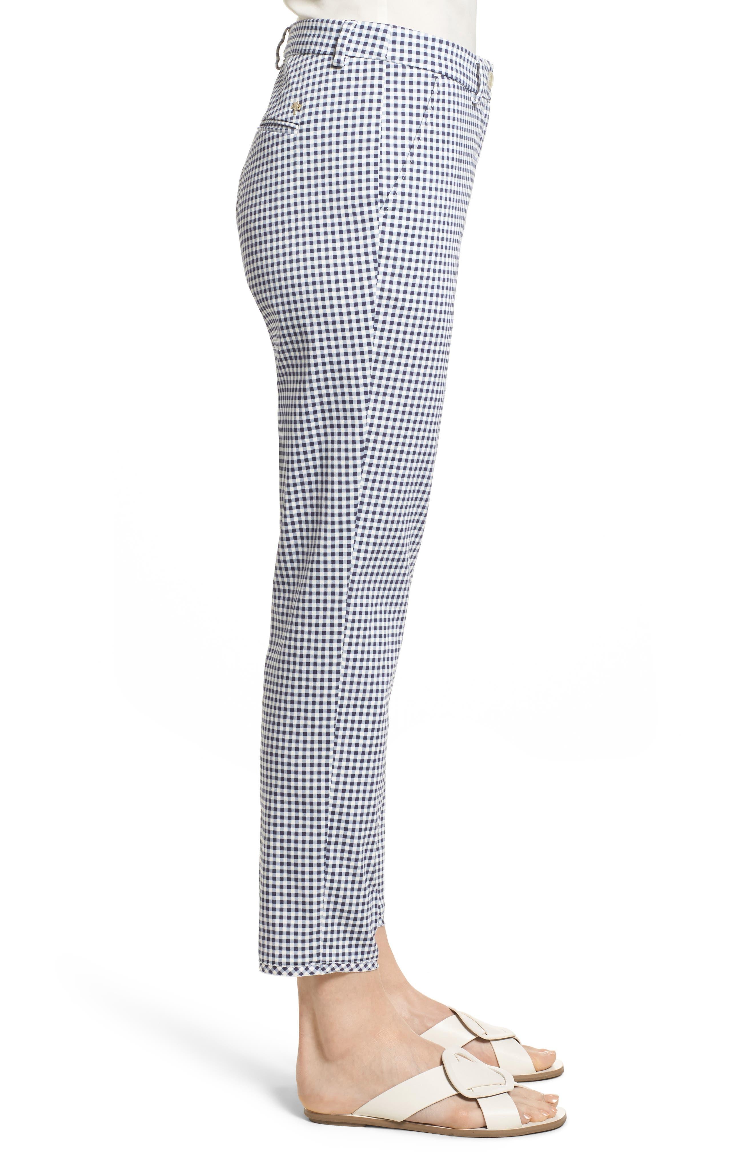Maron Gingham Stretch Cotton Pants,                             Alternate thumbnail 3, color,                             OCEAN