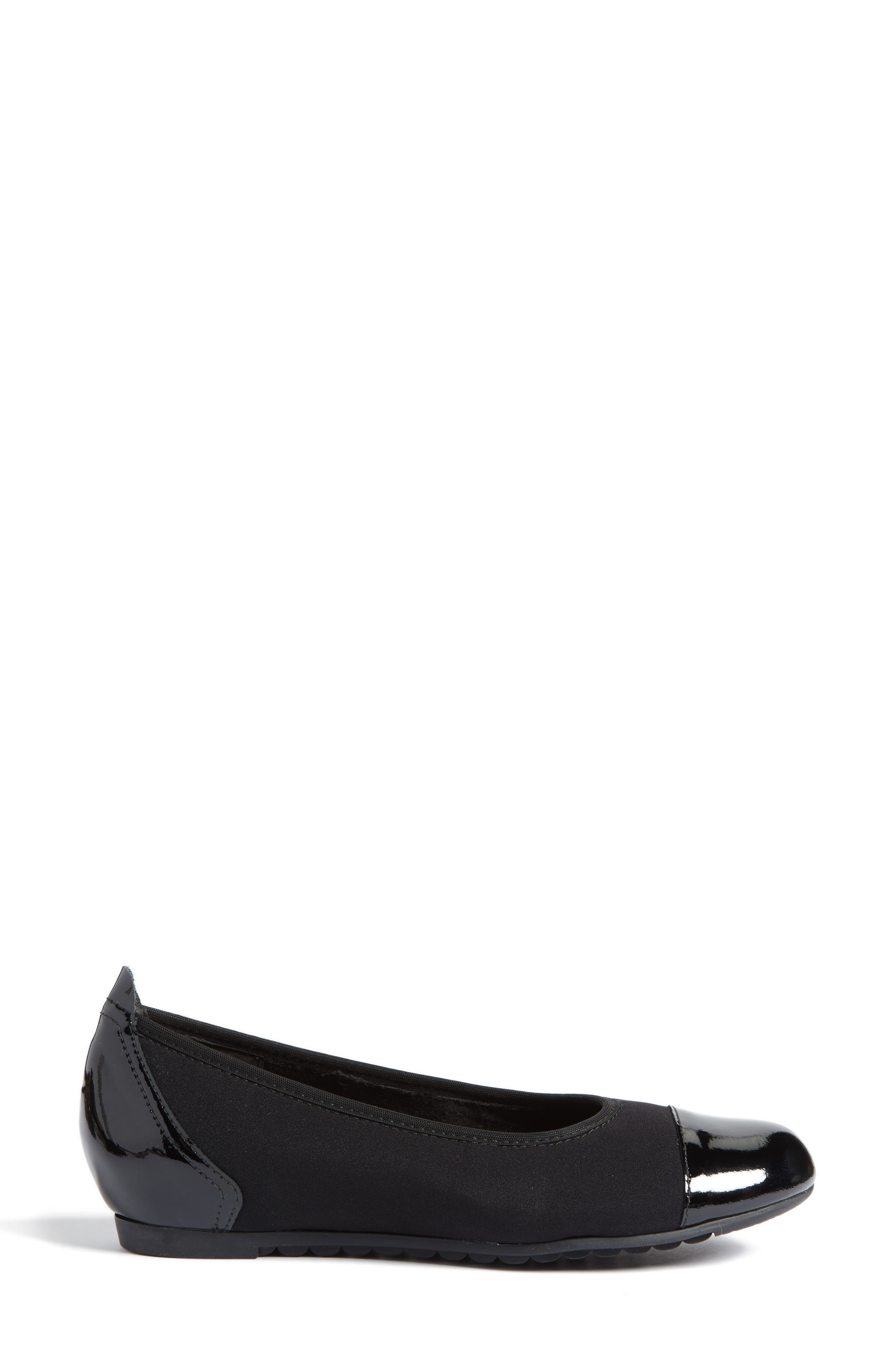 Henlee Cap Toe Flat,                             Alternate thumbnail 3, color,                             BLACK FABRIC