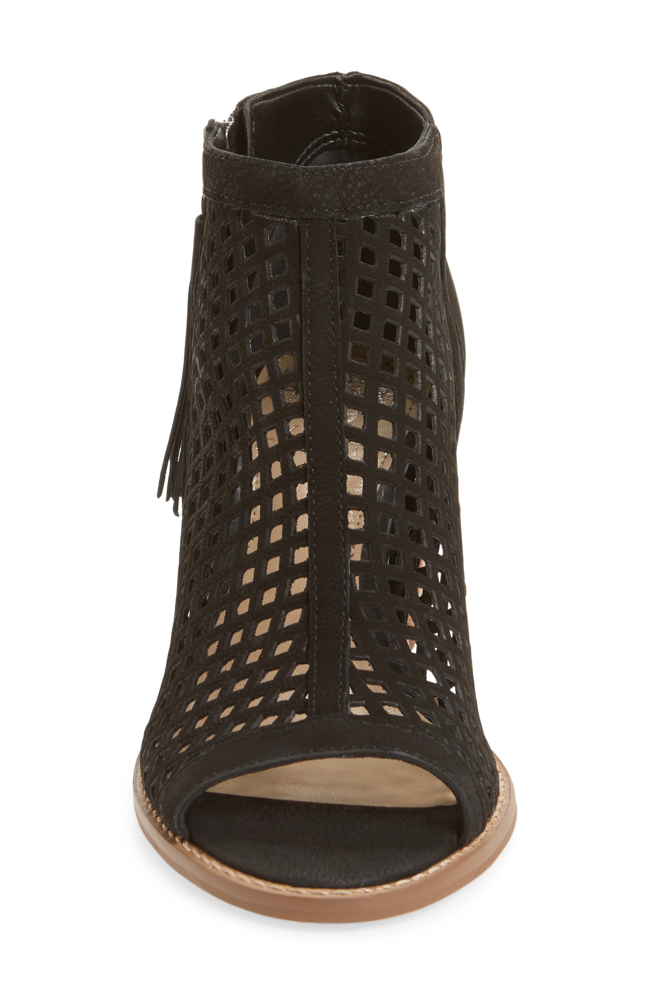 Tresin Perforated Open-Toe Bootie,                             Alternate thumbnail 3, color,                             001