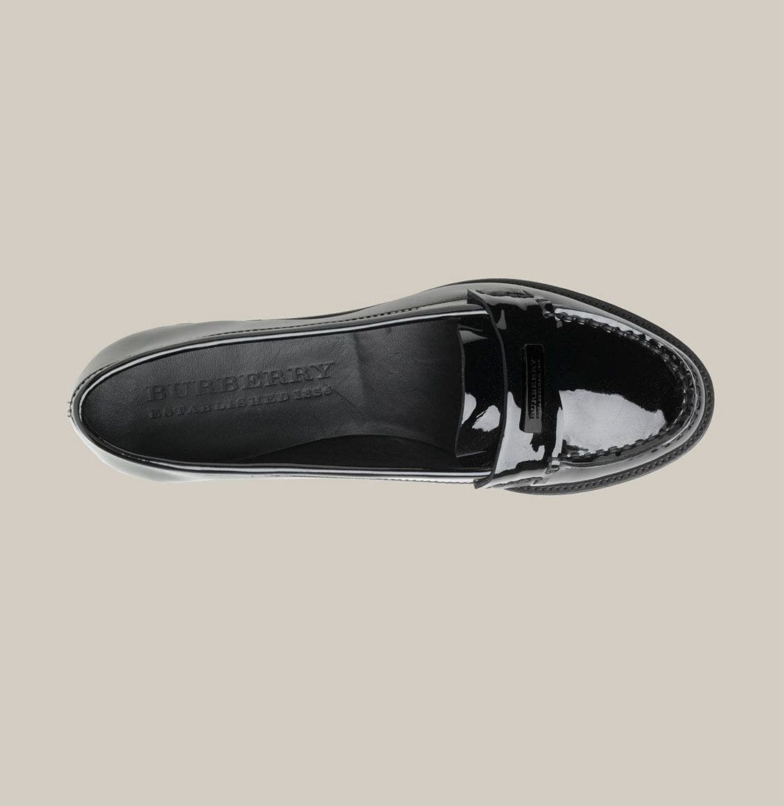BURBERRY,                             Patent Leather Loafer,                             Alternate thumbnail 3, color,                             001